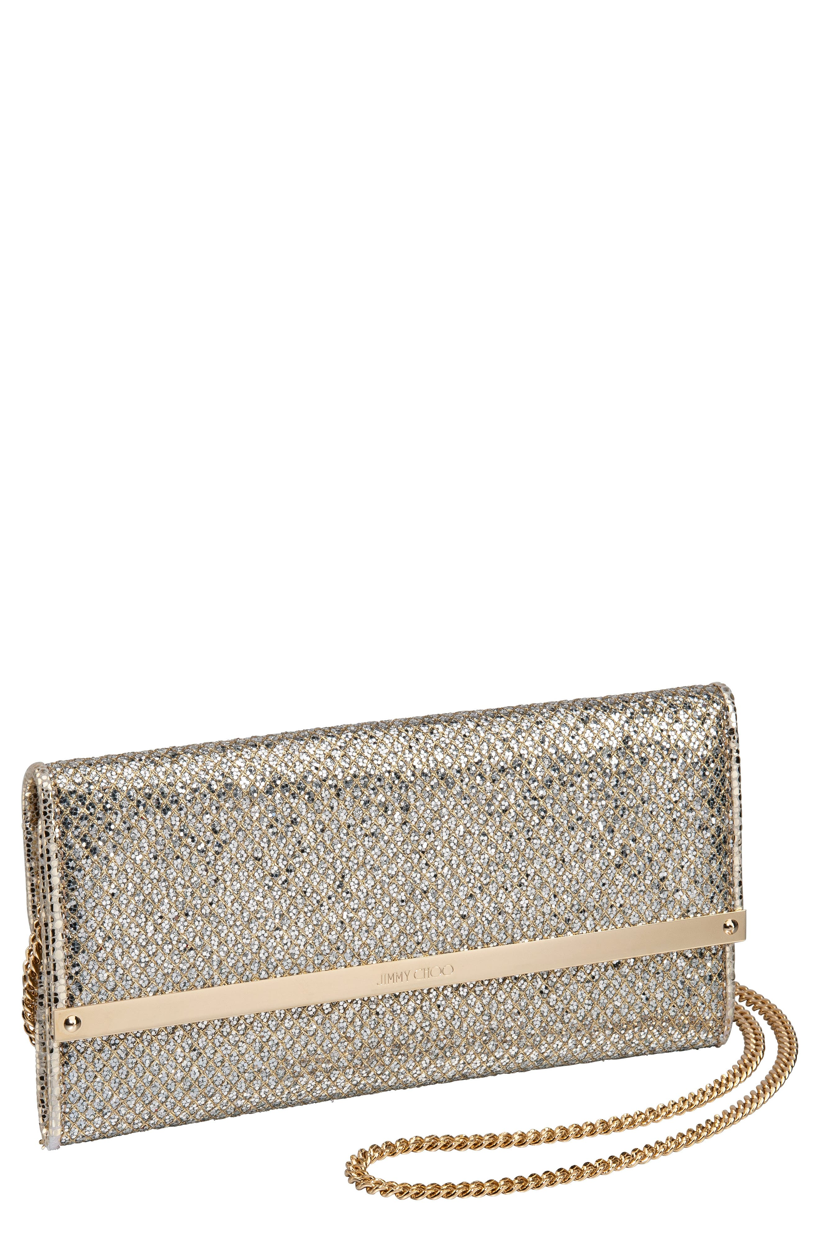 Milla Glitter Wallet on a Chain,                             Main thumbnail 1, color,                             CHAMPAGNE