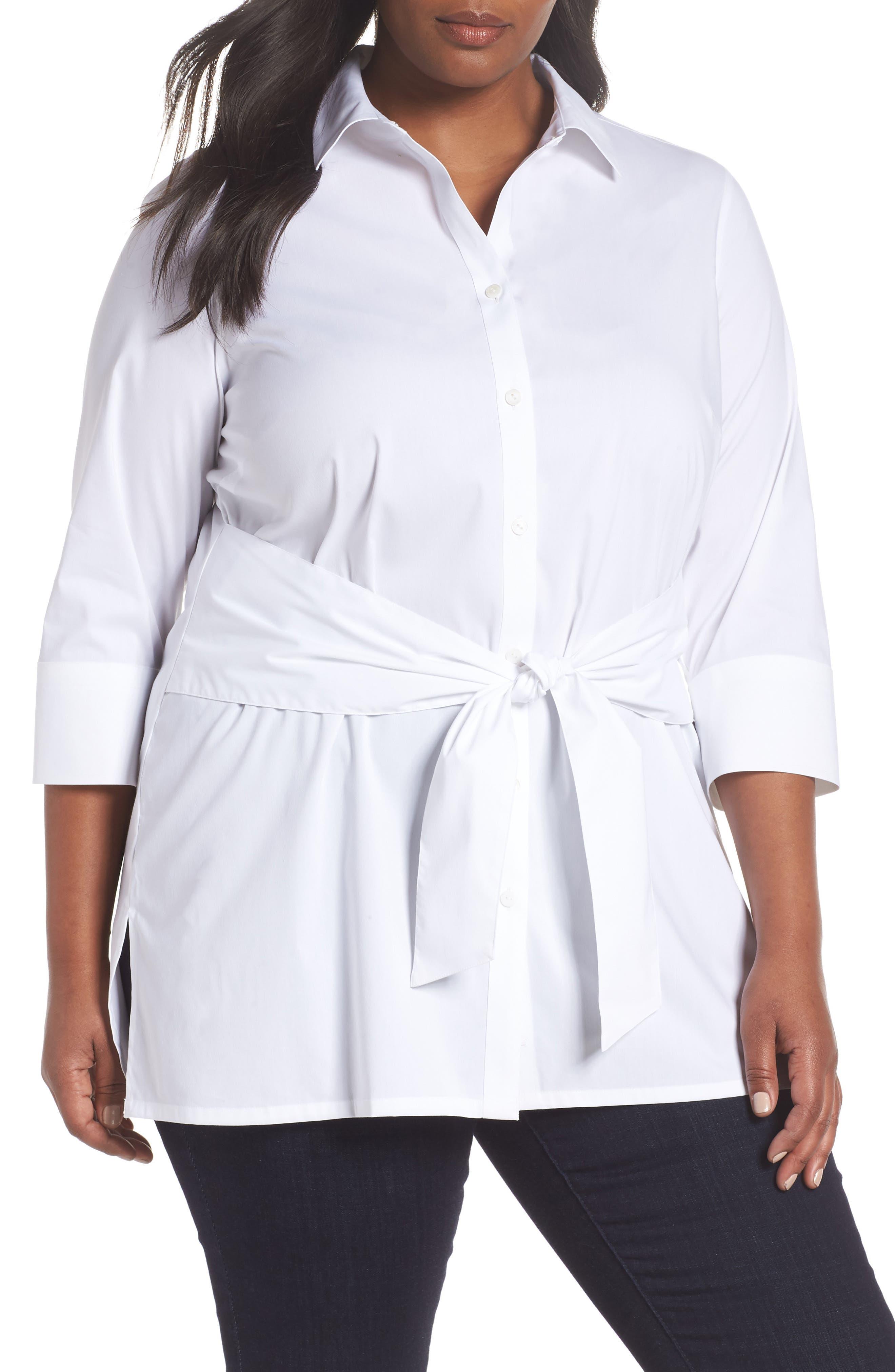 Michaela Solid Tie Front Shirt,                             Main thumbnail 1, color,                             WHITE