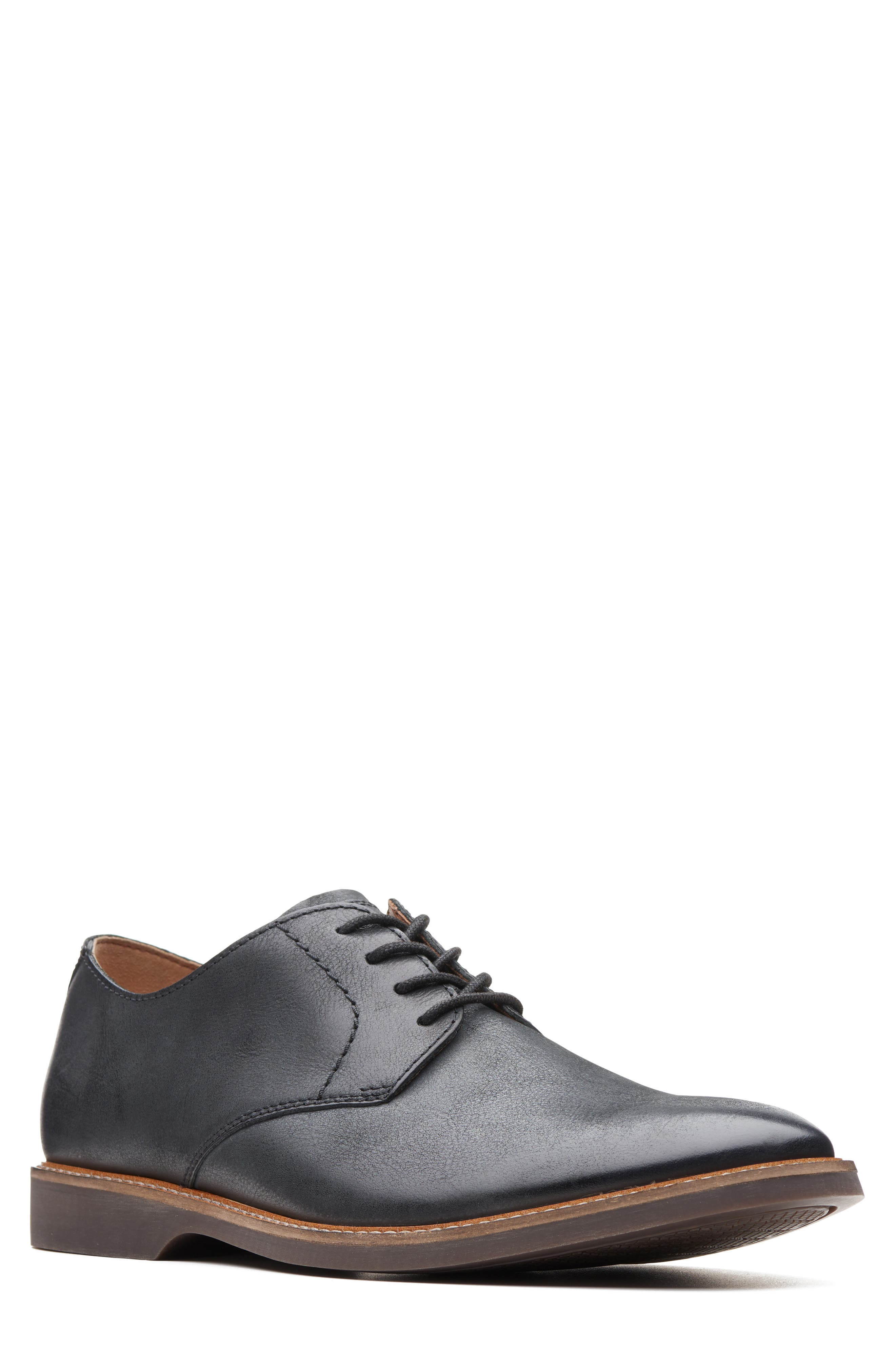 Atticus Plain Toe Derby, Main, color, BLACK LEATHER