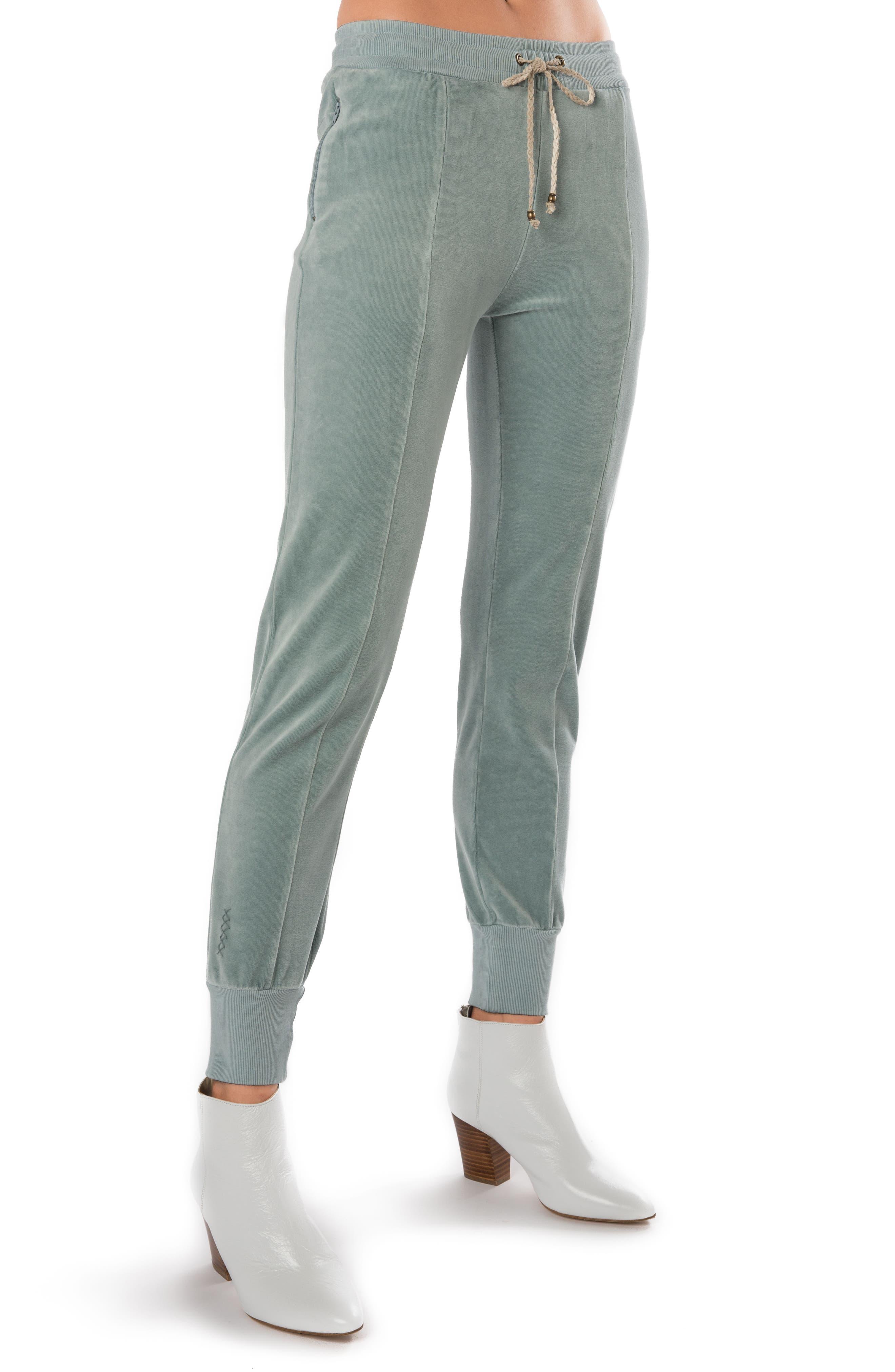 High Waist Velour Track Pants,                             Alternate thumbnail 3, color,                             400