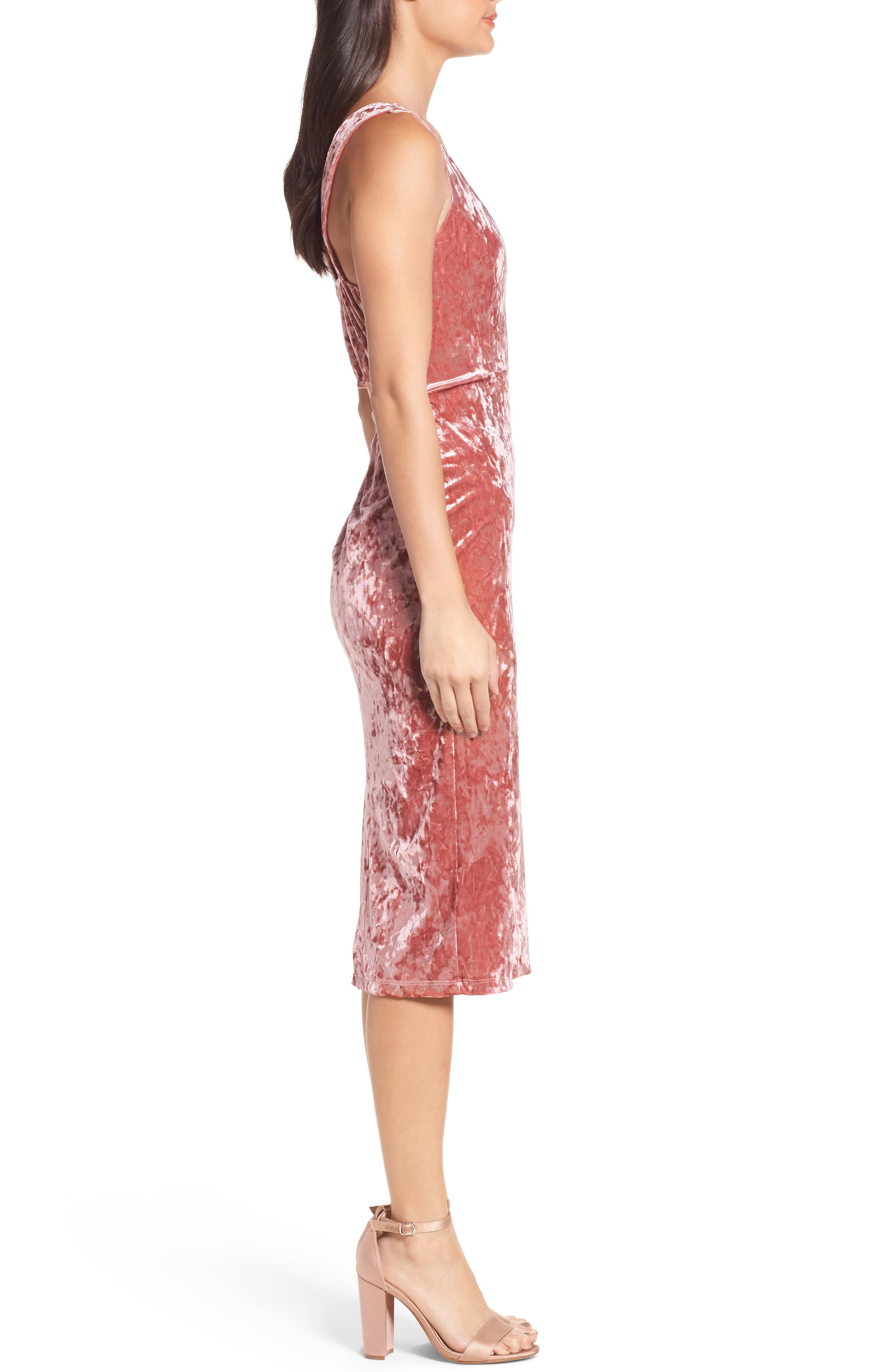 FRAICHE BY J,                             Velvet Midi Dress,                             Alternate thumbnail 3, color,                             ICE PINK