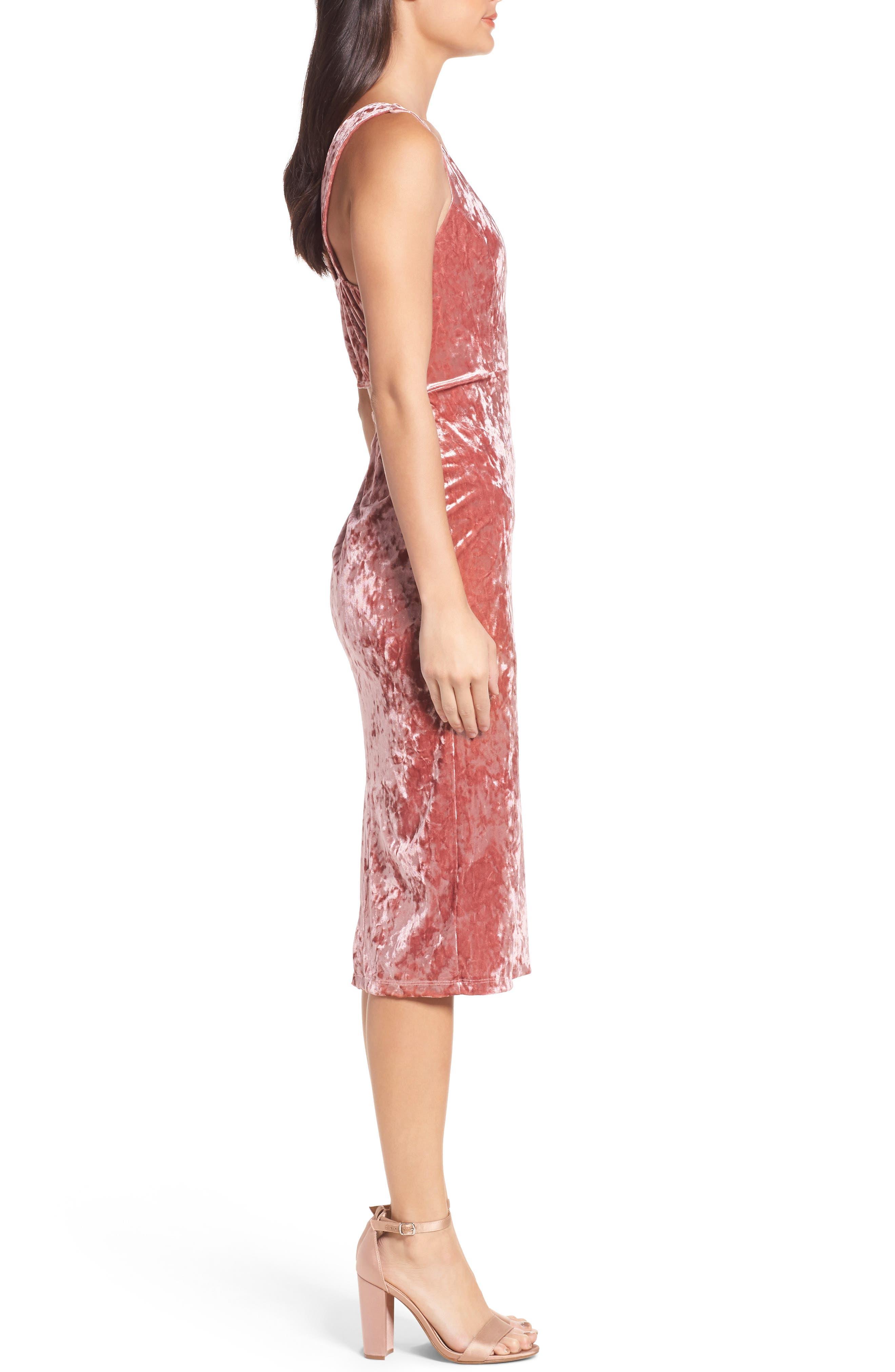Velvet Midi Dress,                             Alternate thumbnail 3, color,                             ICE PINK