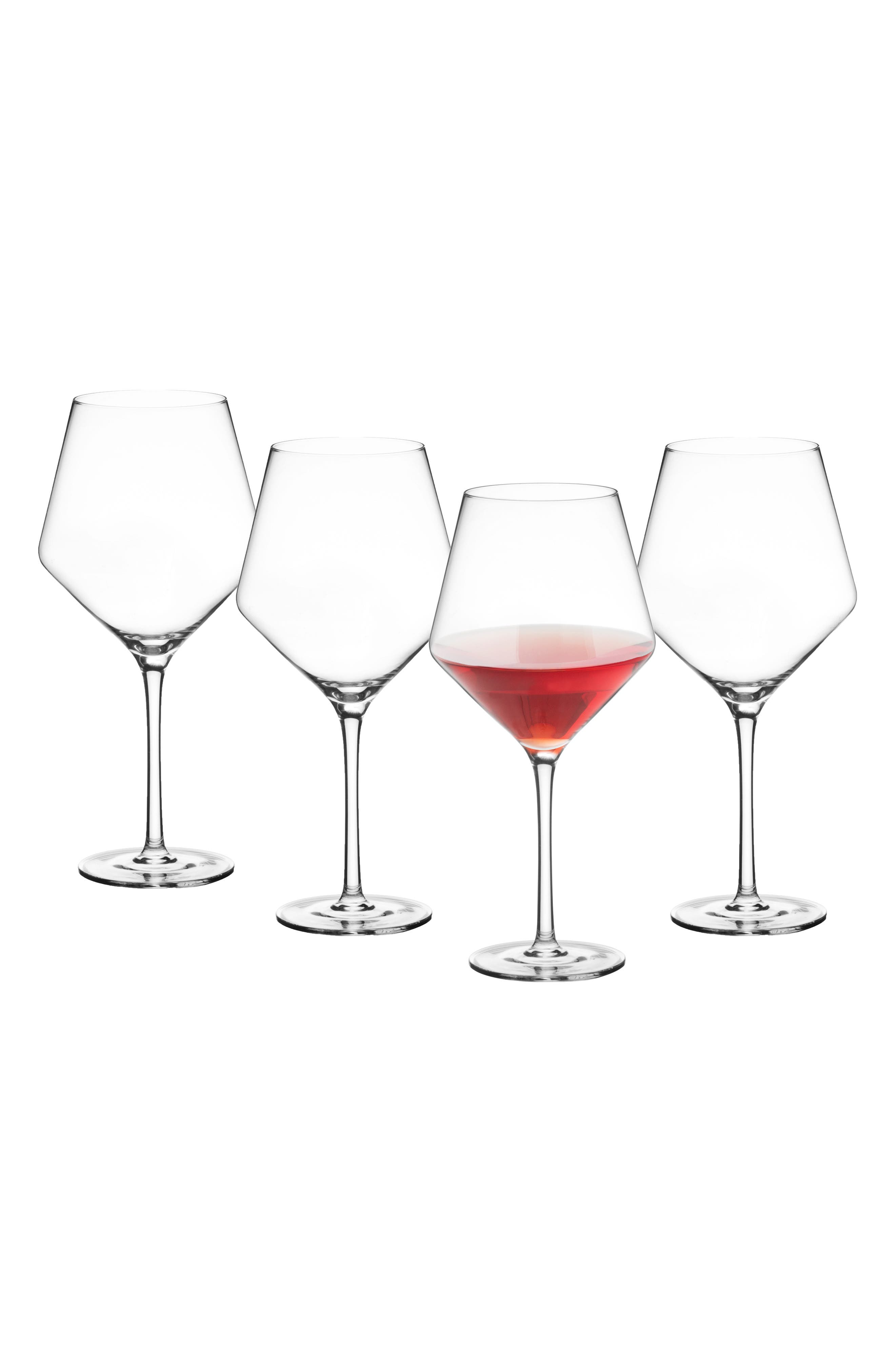 Estate Collection Set of 4 Monogram Red Wine Glasses,                             Main thumbnail 1, color,                             BLANK