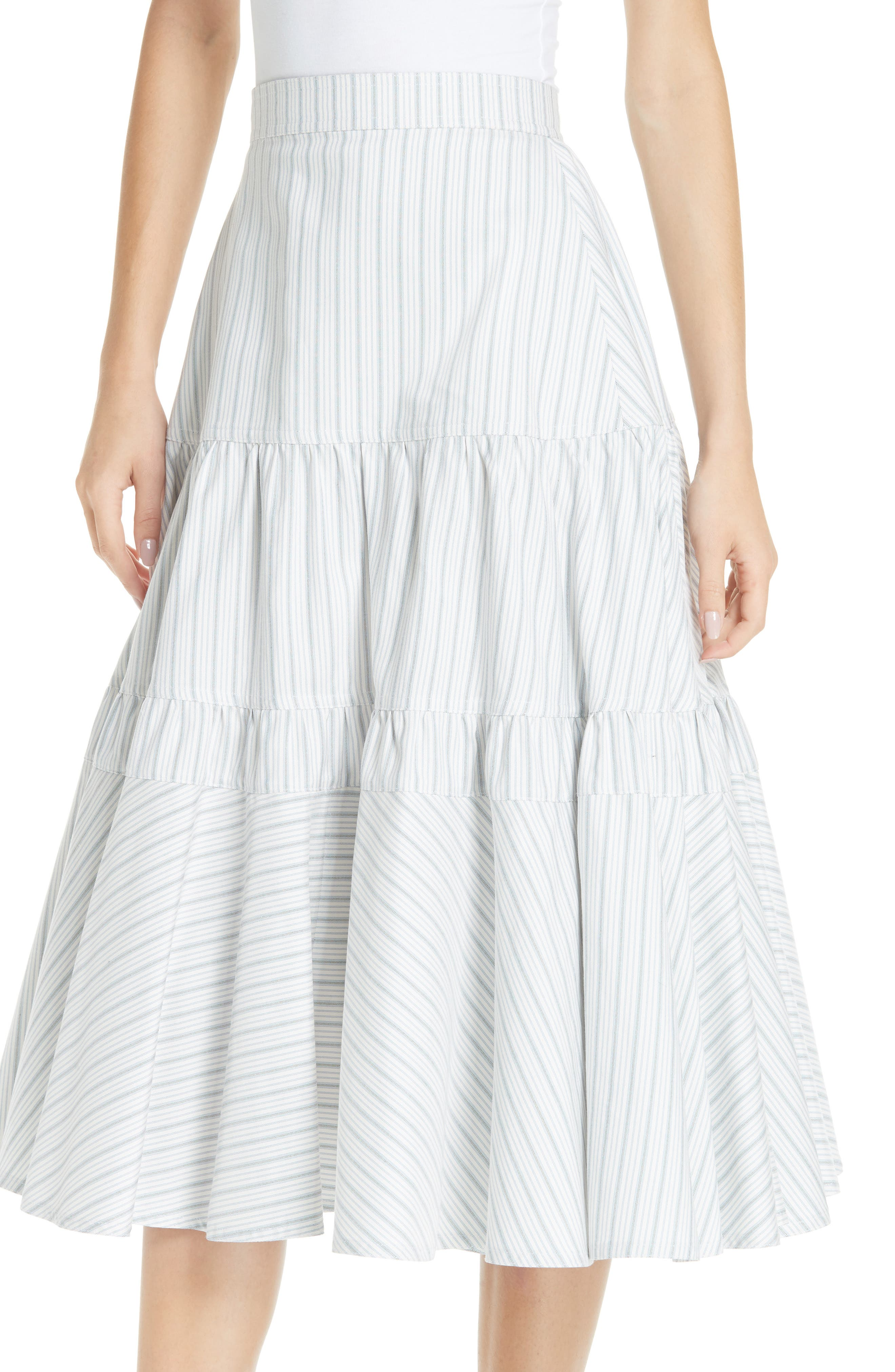 Silk Tiered Prairie Skirt,                             Alternate thumbnail 4, color,                             CREAM BLUE