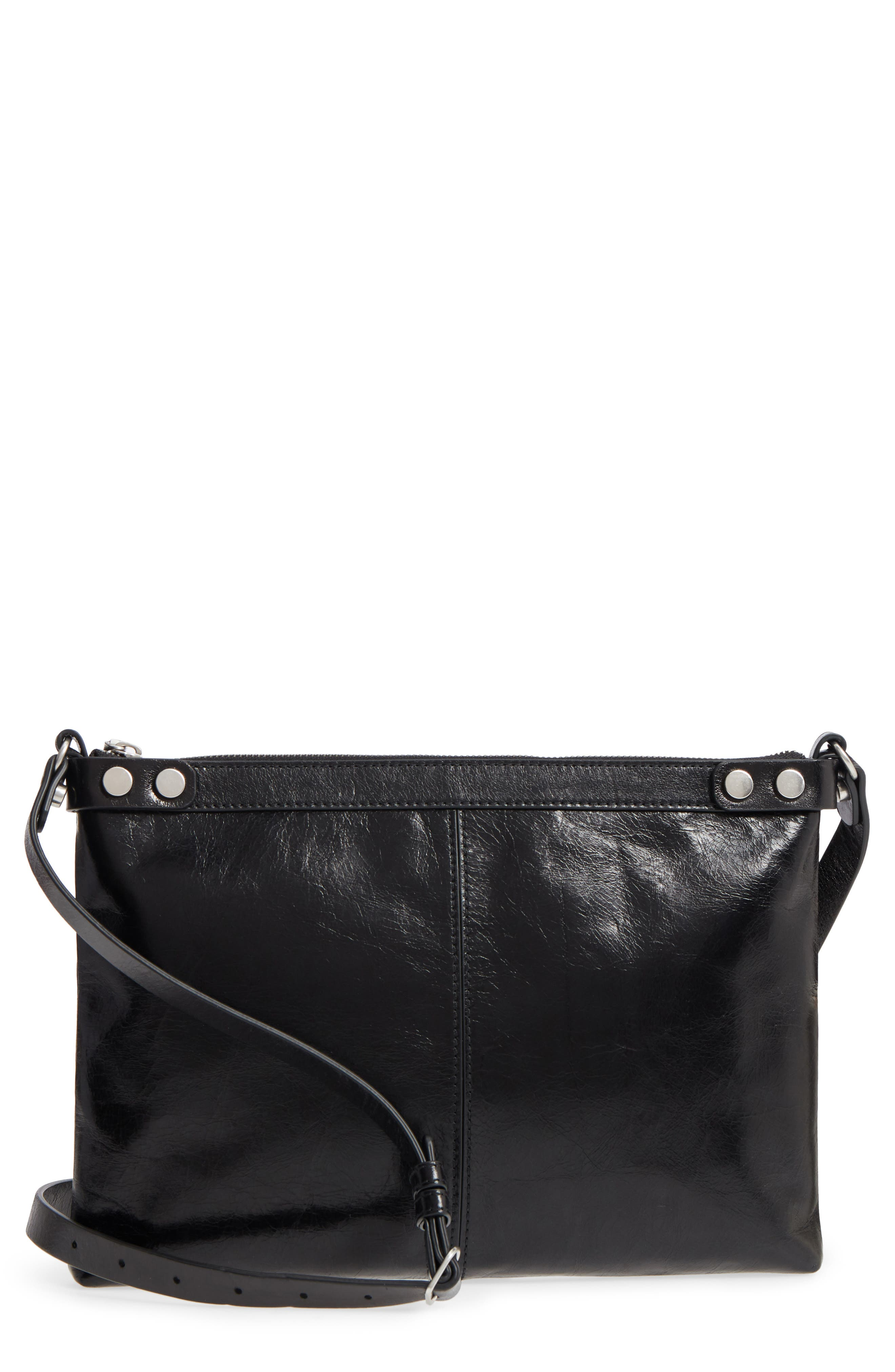 Marlow Glazed Leather Crossbody Bag,                         Main,                         color, BLACK