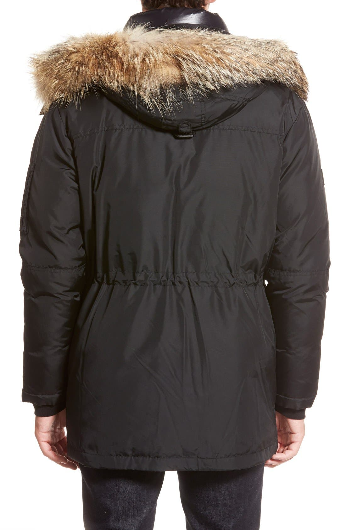 'Avalanche' Quilted Jacket with Genuine Coyote Fur Trim,                             Alternate thumbnail 2, color,                             001