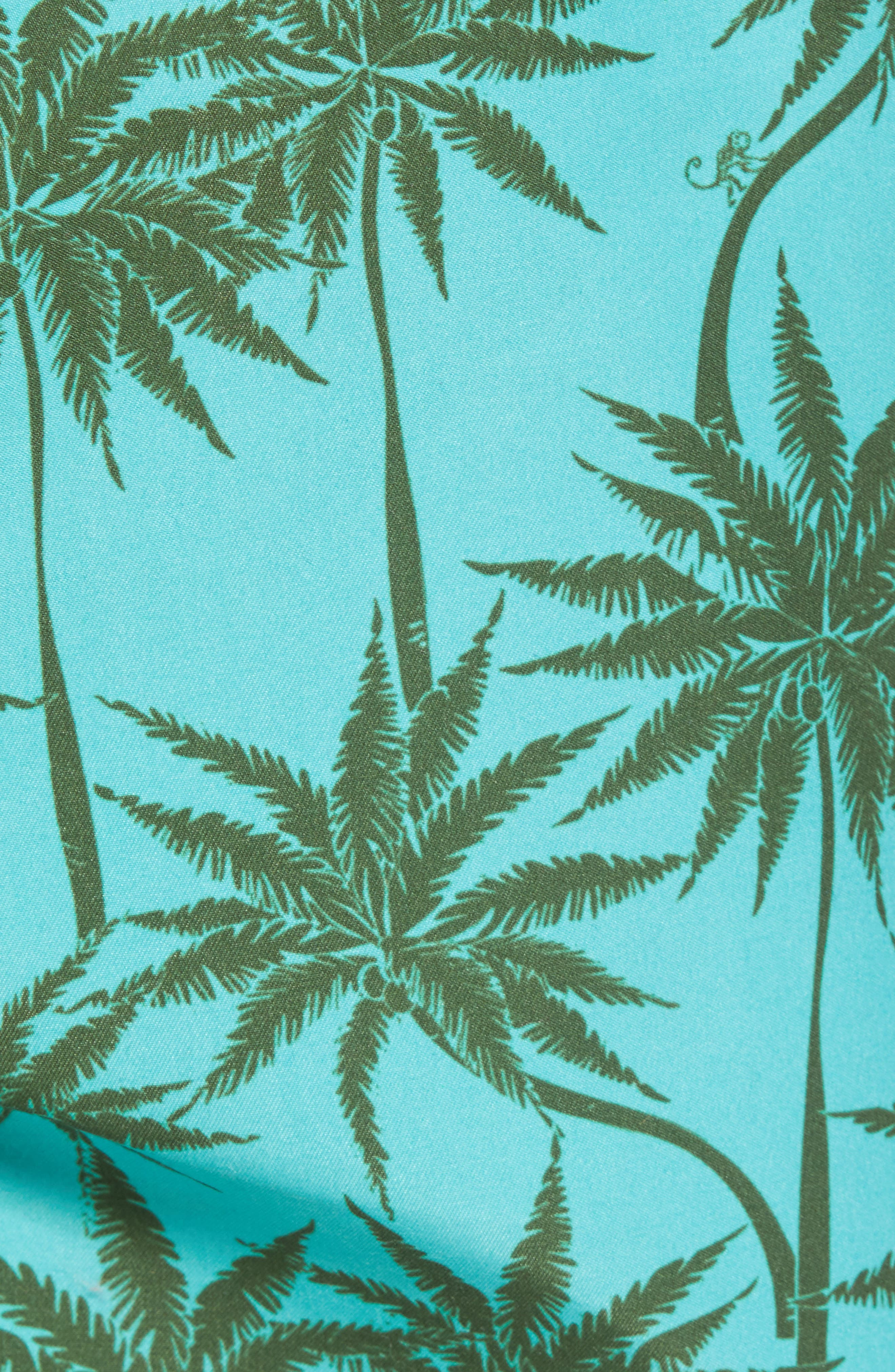 Piranha Palm Tree Swim Trunks,                             Alternate thumbnail 5, color,                             483