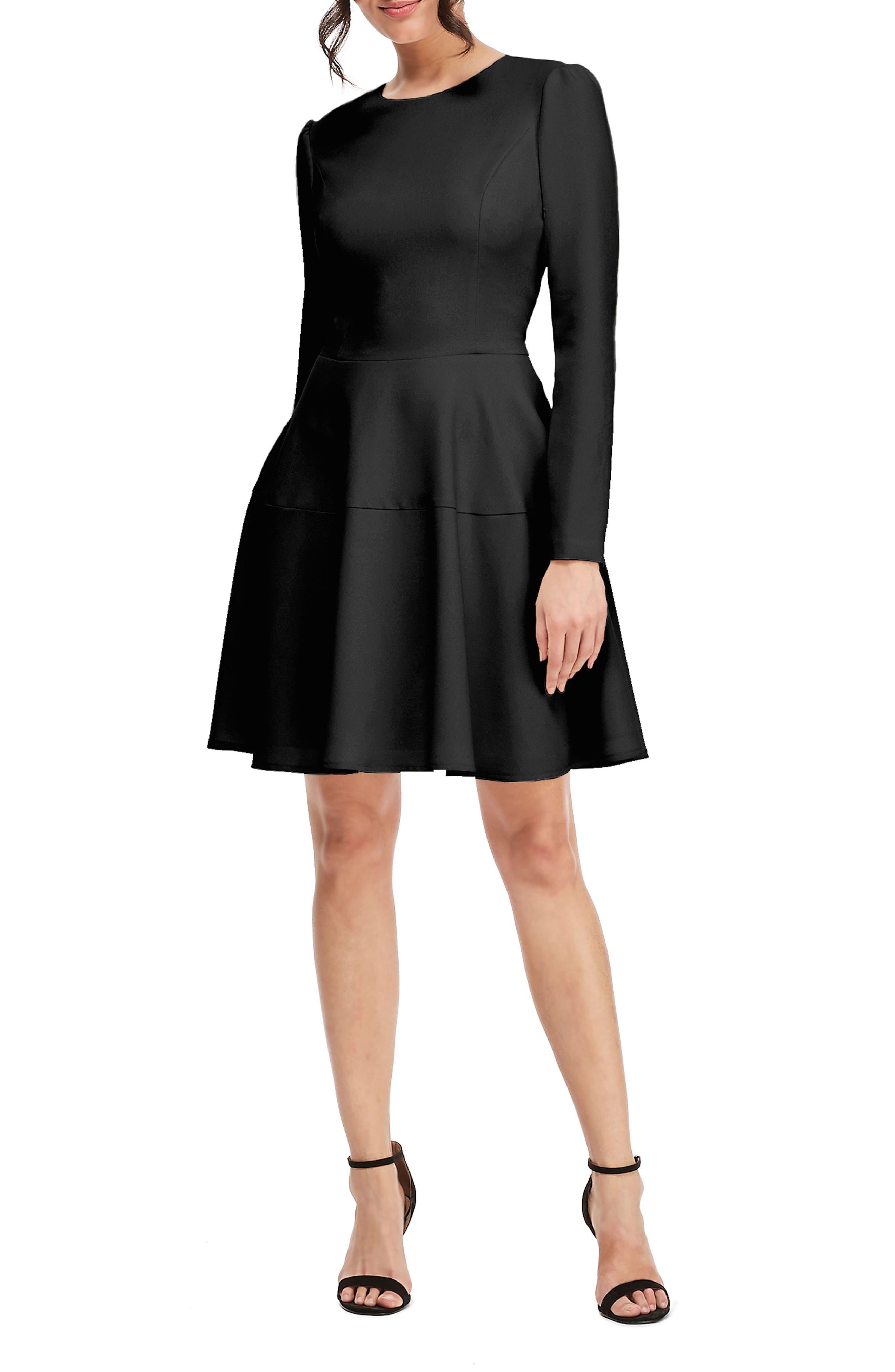 Celeste Fit & Flare Dress,                             Main thumbnail 1, color,                             BLACK