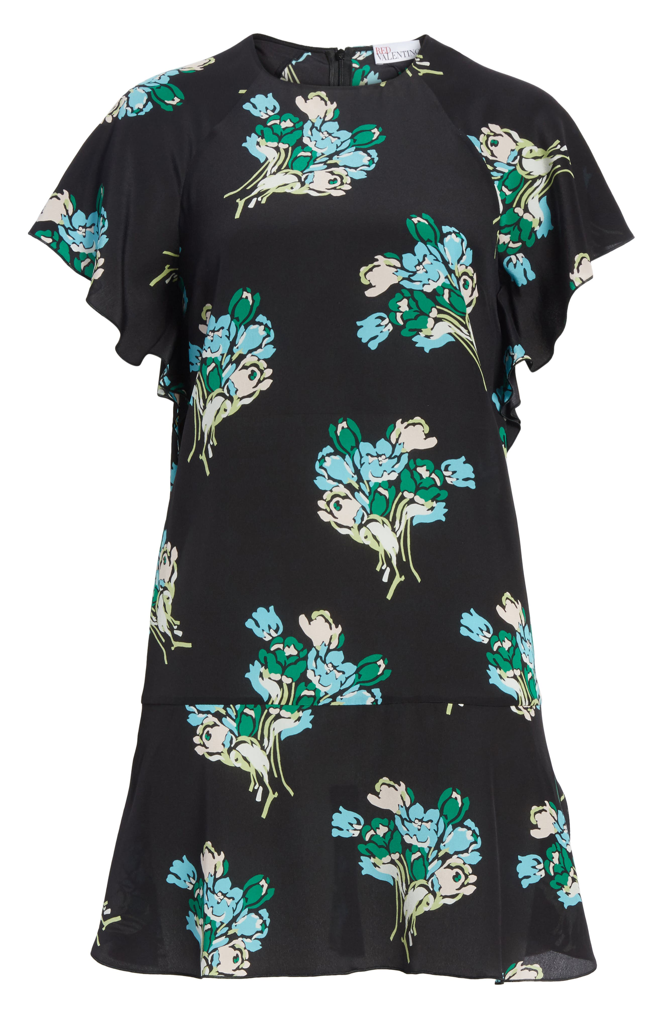 Floral Silk Crepe de Chine Dress,                             Alternate thumbnail 6, color,                             001