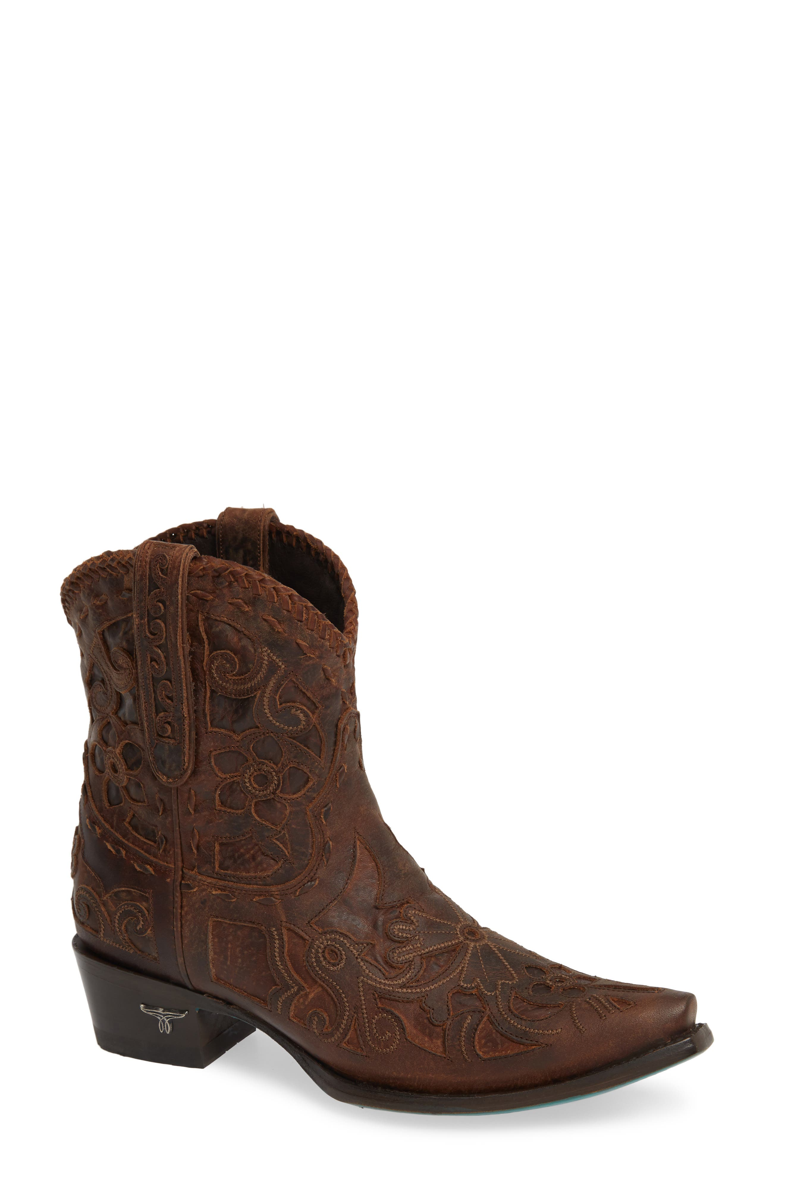 LANE BOOTS,                             Robin Western Boot,                             Main thumbnail 1, color,                             DARK BROWN LEATHER