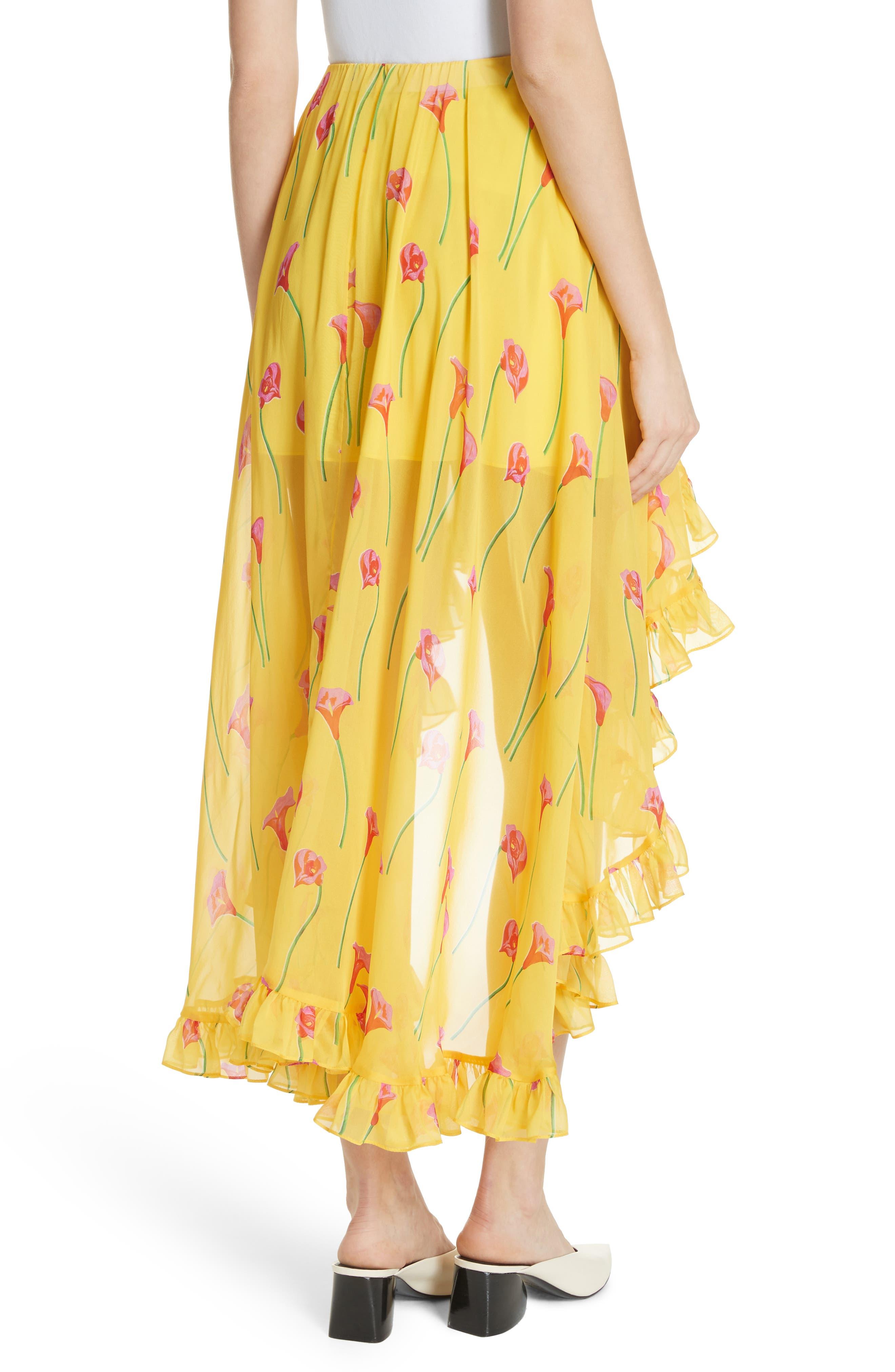 CAROLINE CONSTAS,                             Adelle Ruffle Trim High/Low Silk Skirt,                             Alternate thumbnail 2, color,                             720