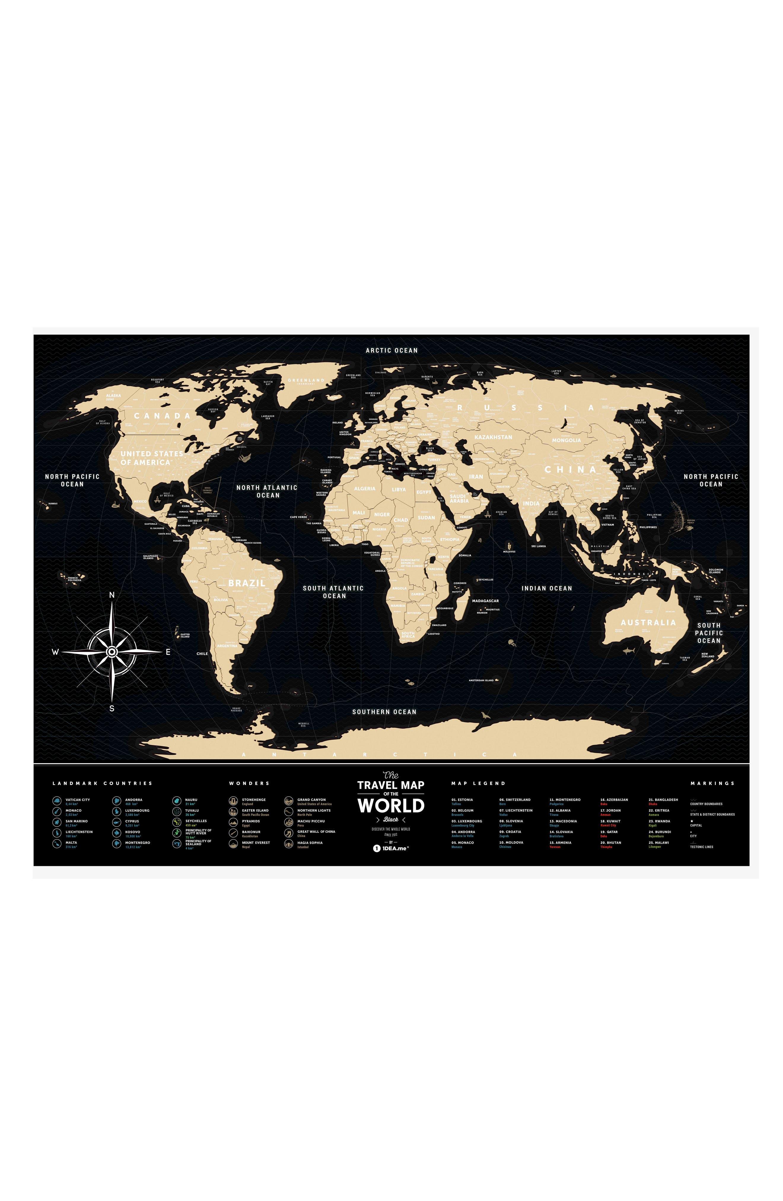 World Travel Map,                         Main,                         color, BLACK