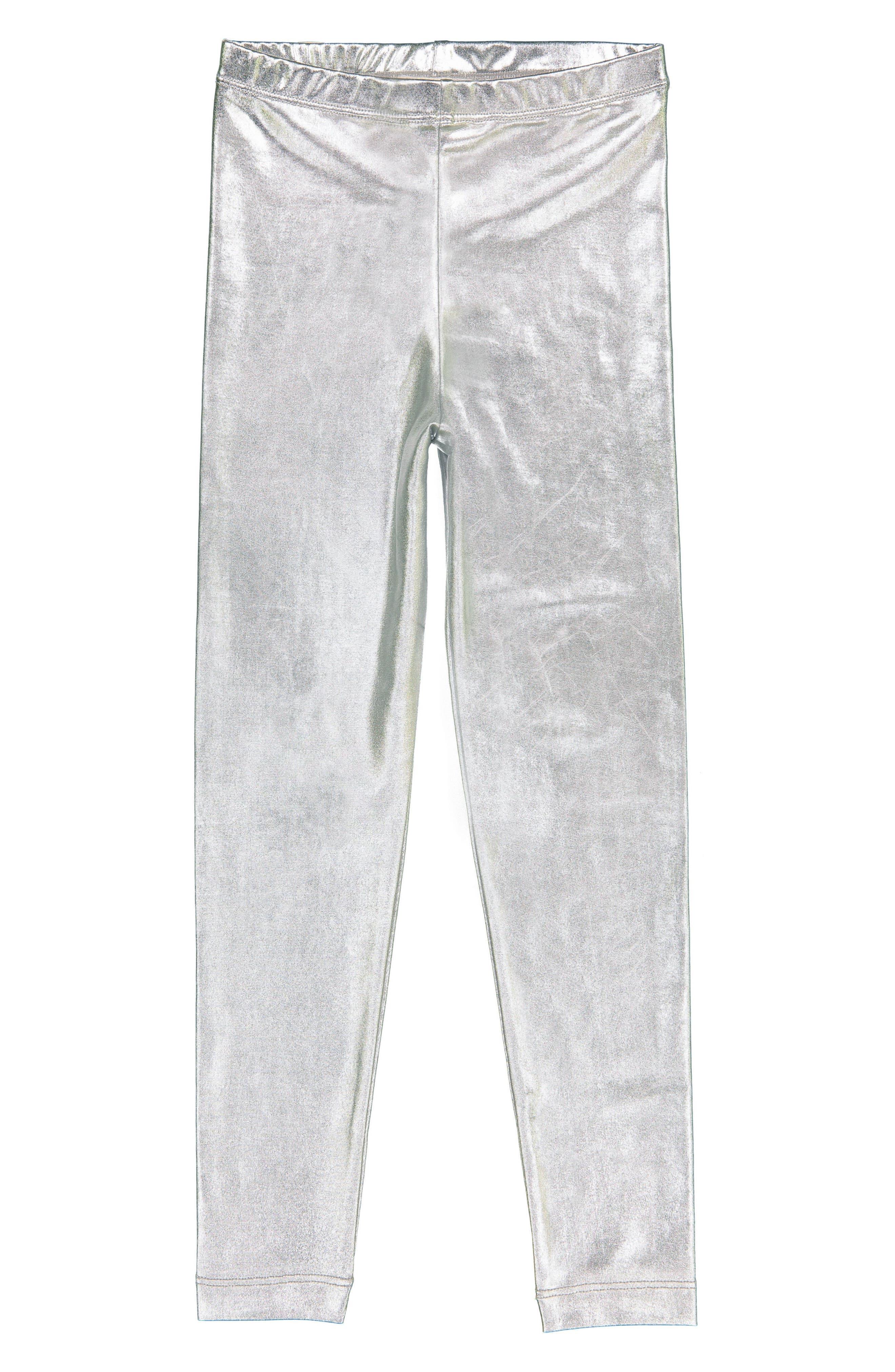 Silver Metallic Leggings,                             Main thumbnail 1, color,                             040