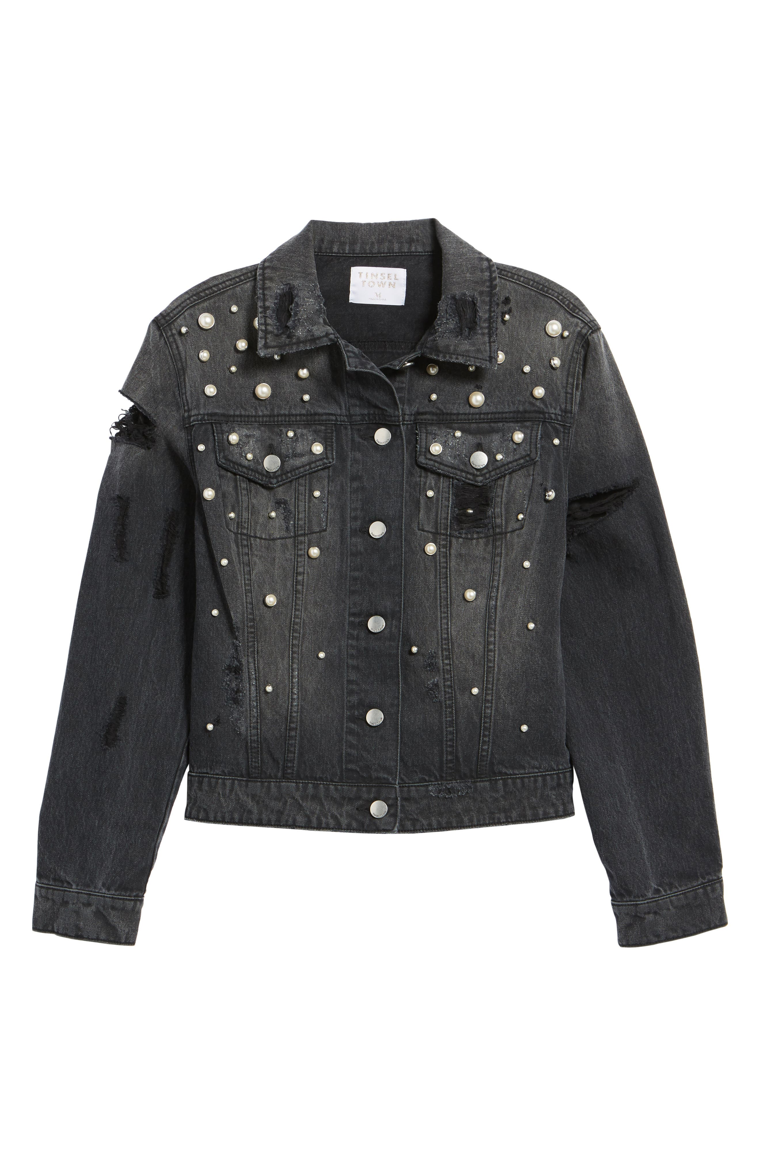 Imitation Pearl Detail Boyfriend Denim Jacket,                             Alternate thumbnail 5, color,