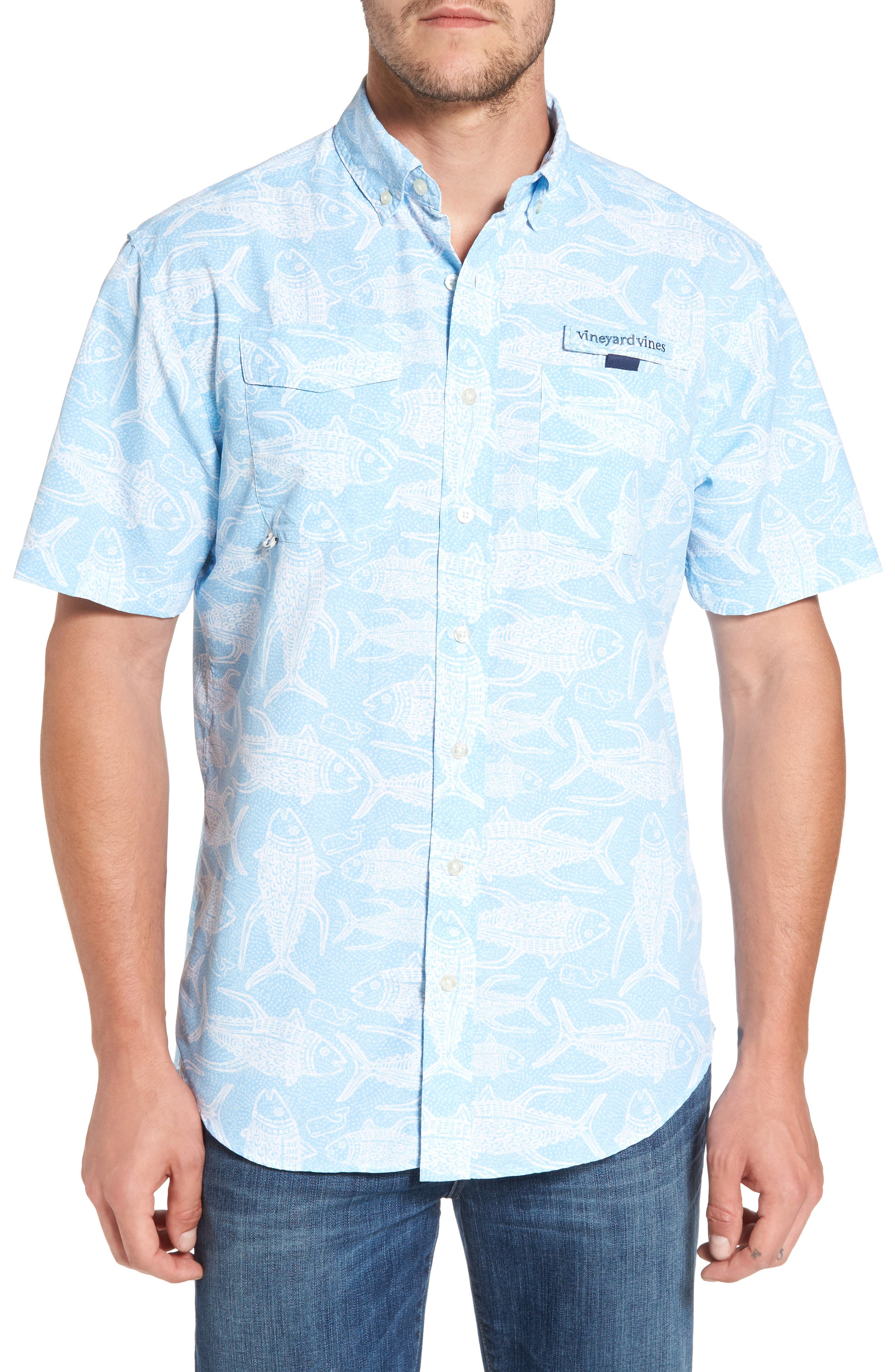 VINEYARD VINES,                             Tuna Batic Harbor Short Sleeve Sport Shirt,                             Main thumbnail 1, color,                             456