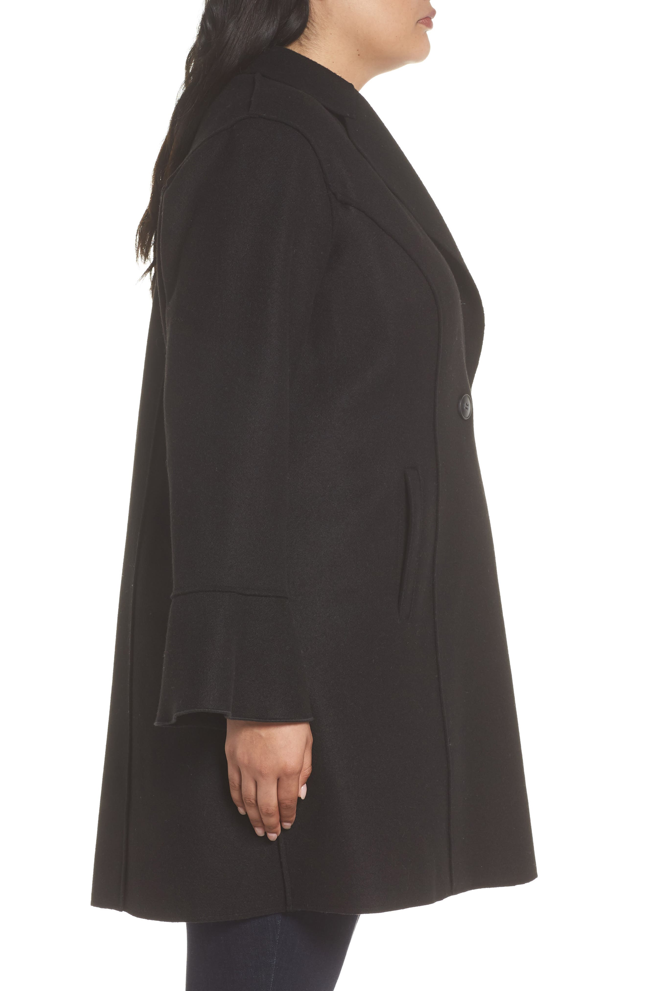 HALOGEN<SUP>®</SUP>,                             Raw Edge Bell Sleeve Coat,                             Alternate thumbnail 3, color,                             001
