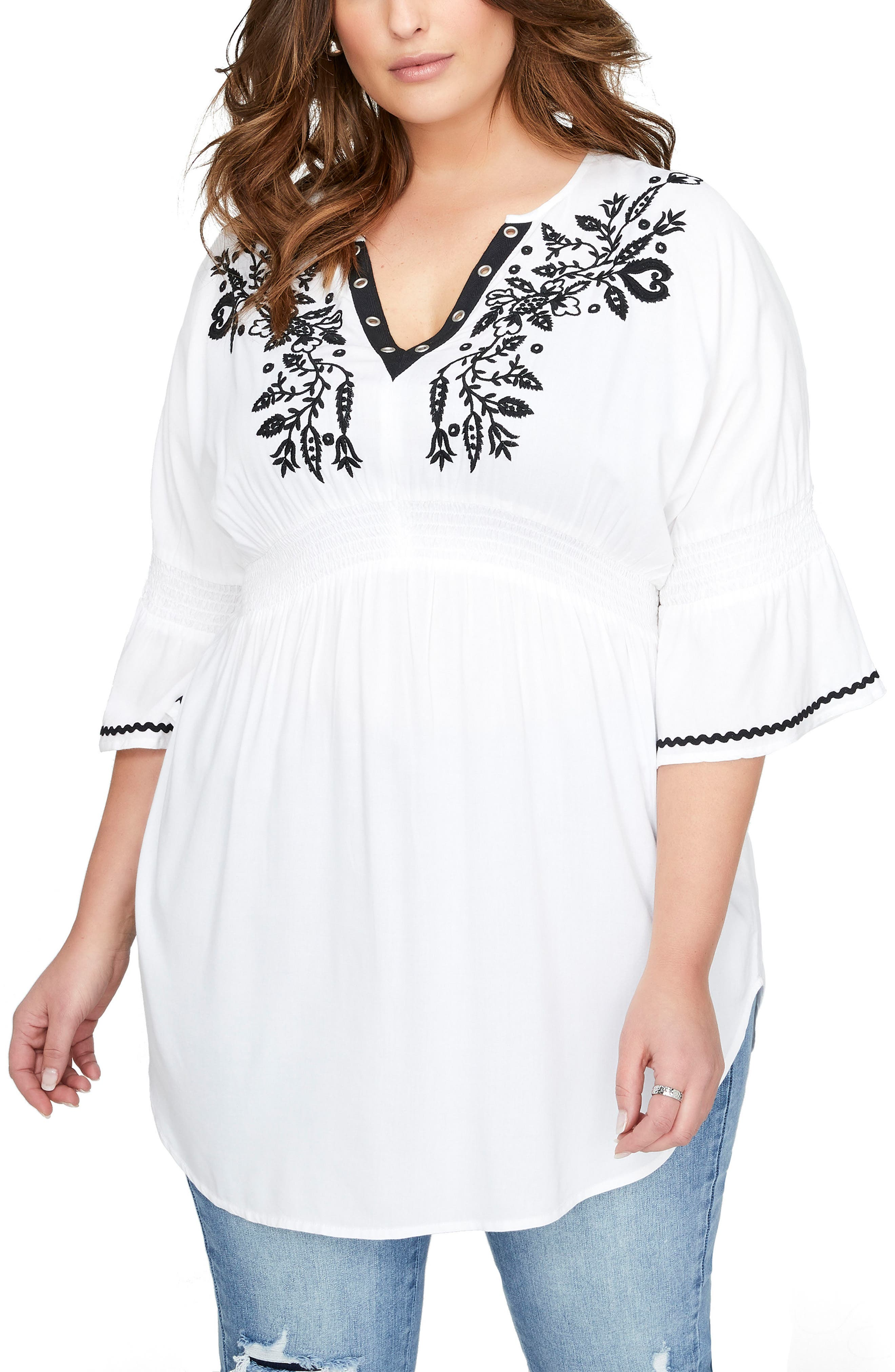 ADDITION ELLE LOVE AND LEGEND Embroidered Bell Sleeve Top, Main, color, 100