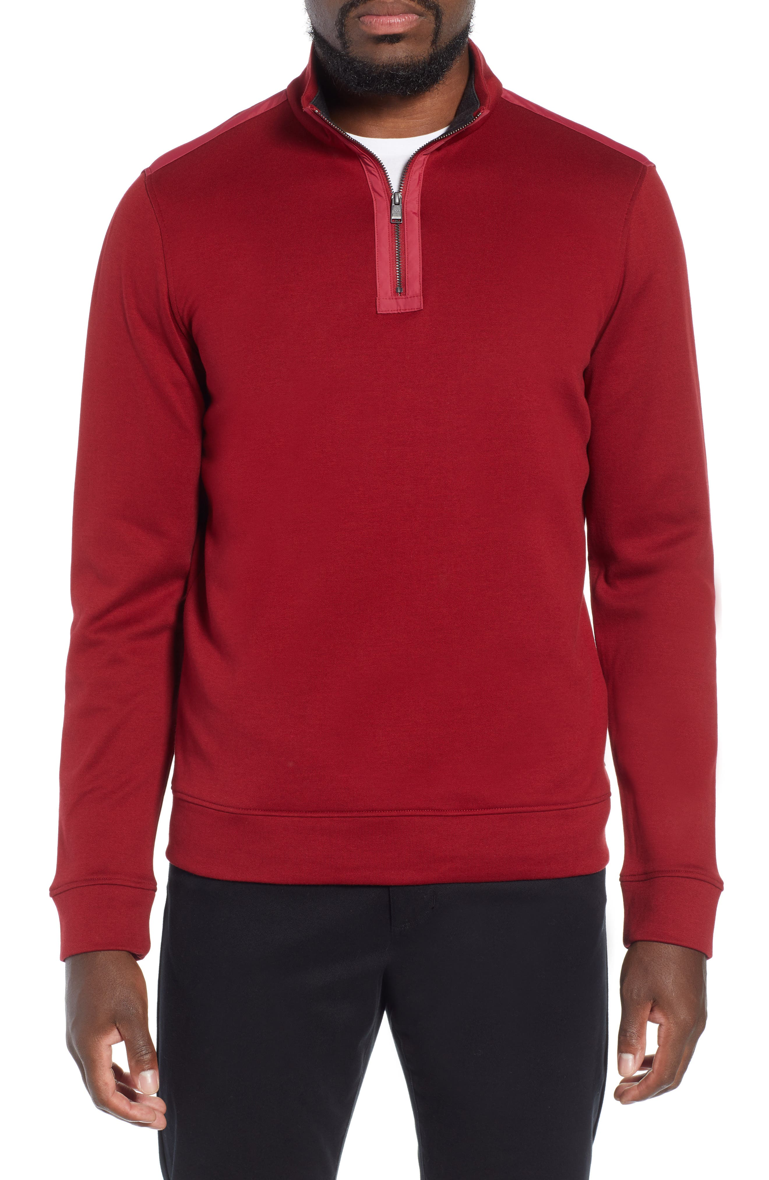 Sidney Quarter Zip Pullover,                             Main thumbnail 1, color,                             RED