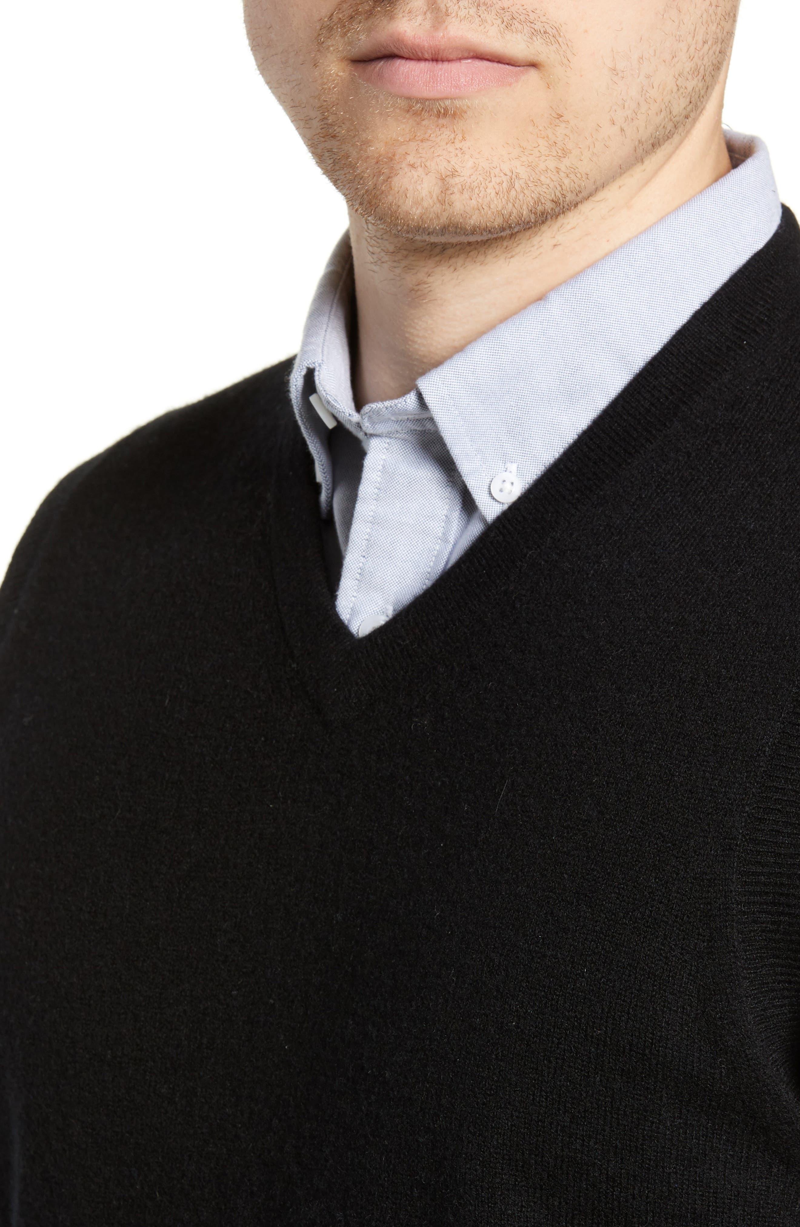 Cashmere V-Neck Sweater Vest,                             Alternate thumbnail 4, color,                             BLACK CAVIAR