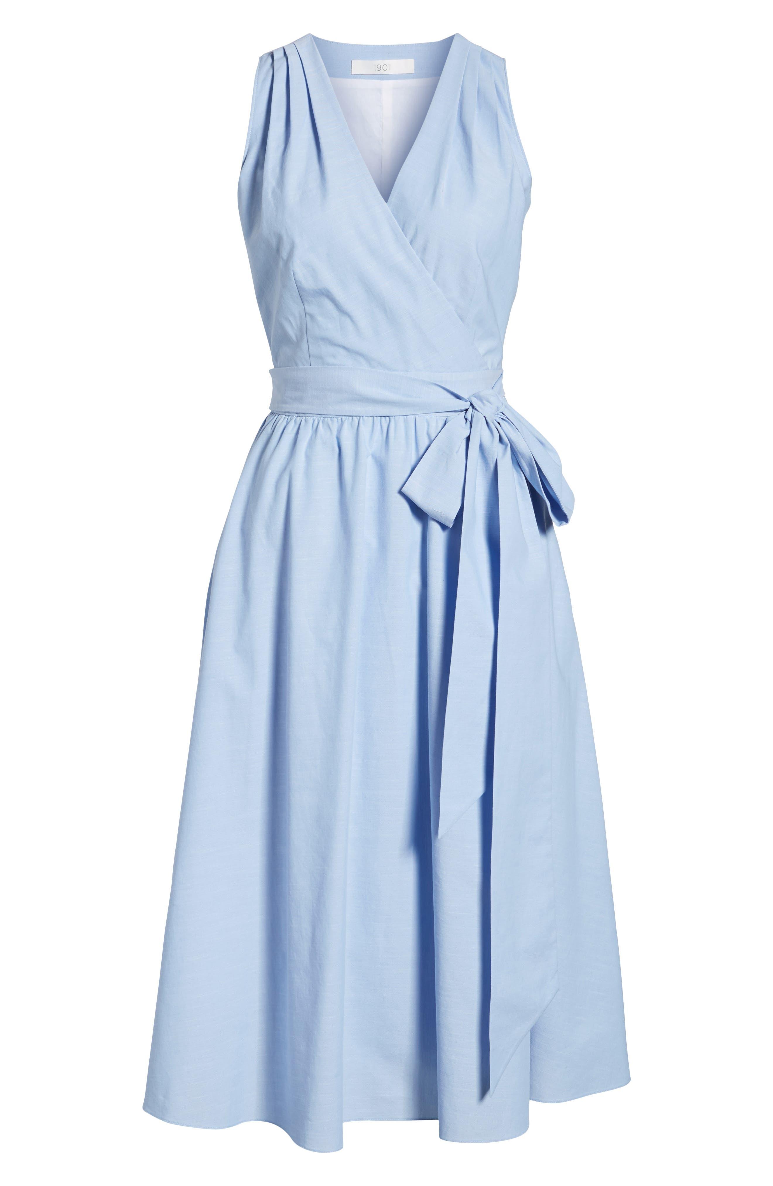 Chambray Wrap Dress,                             Alternate thumbnail 7, color,                             420