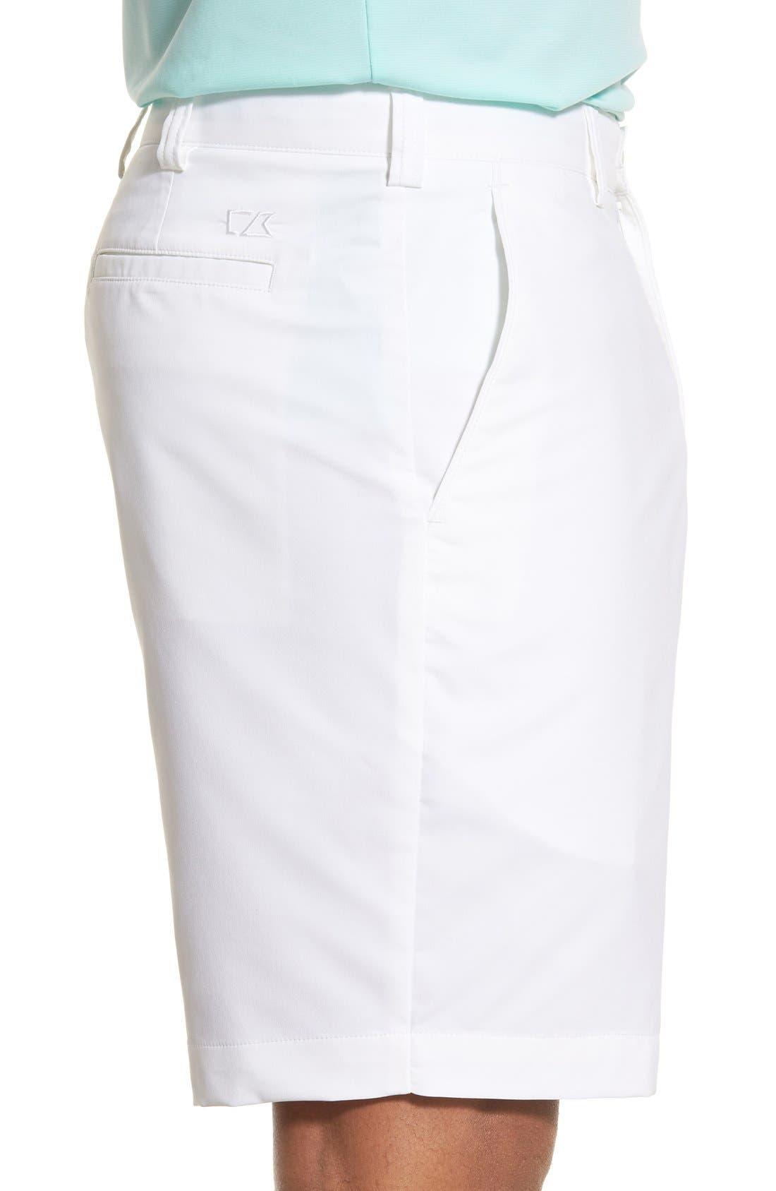 Bainbridge DryTec Flat Front Shorts,                             Alternate thumbnail 6, color,                             WHITE