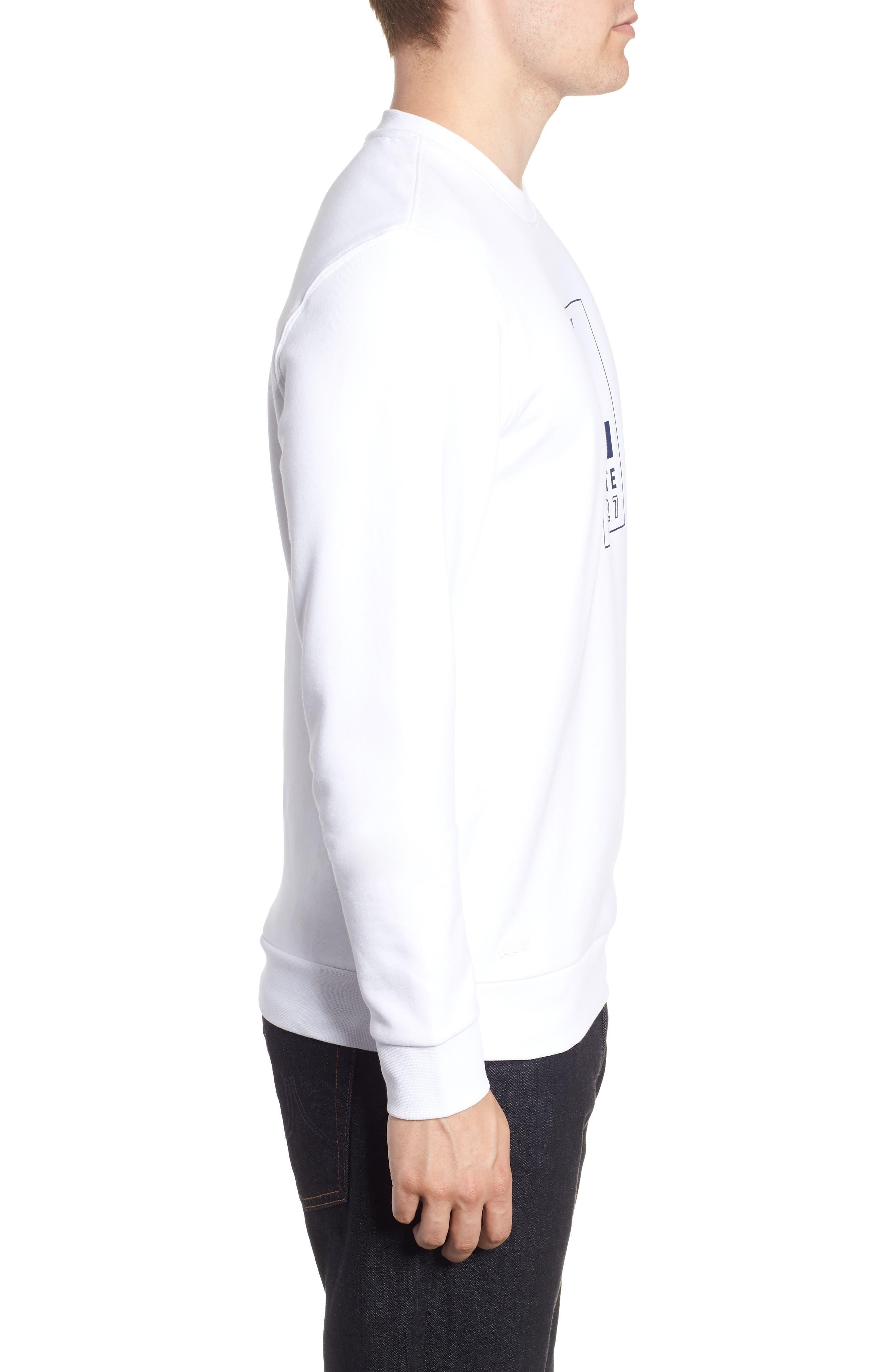 Heritage Regular Fit Sweatshirt,                             Alternate thumbnail 3, color,                             WHITE/ NAVY BLUE