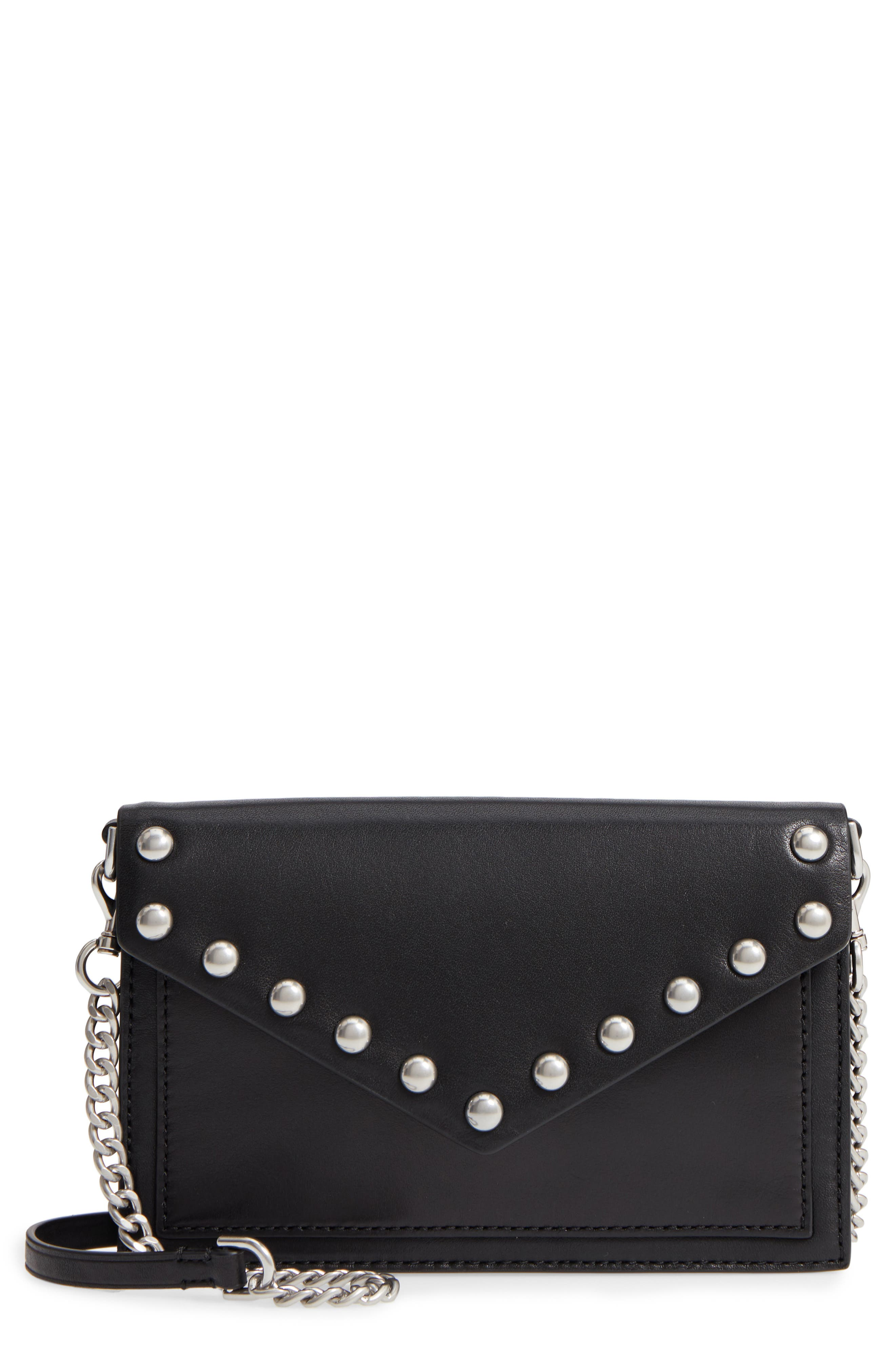 Blythe Studded Leather Crossbody Wallet,                         Main,                         color, 001