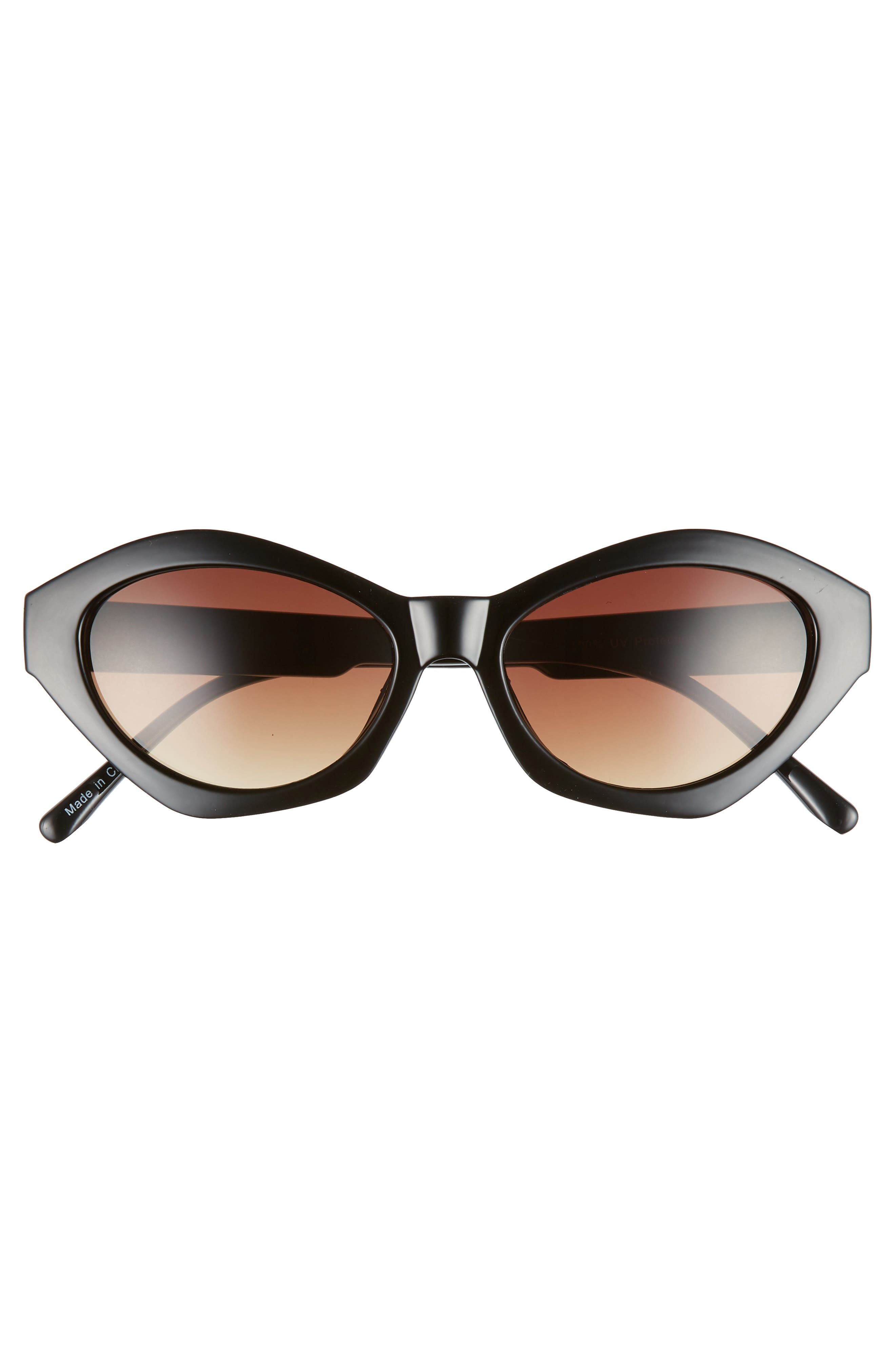 58mm Curved Cat Eye Sunglasses,                             Alternate thumbnail 3, color,                             001