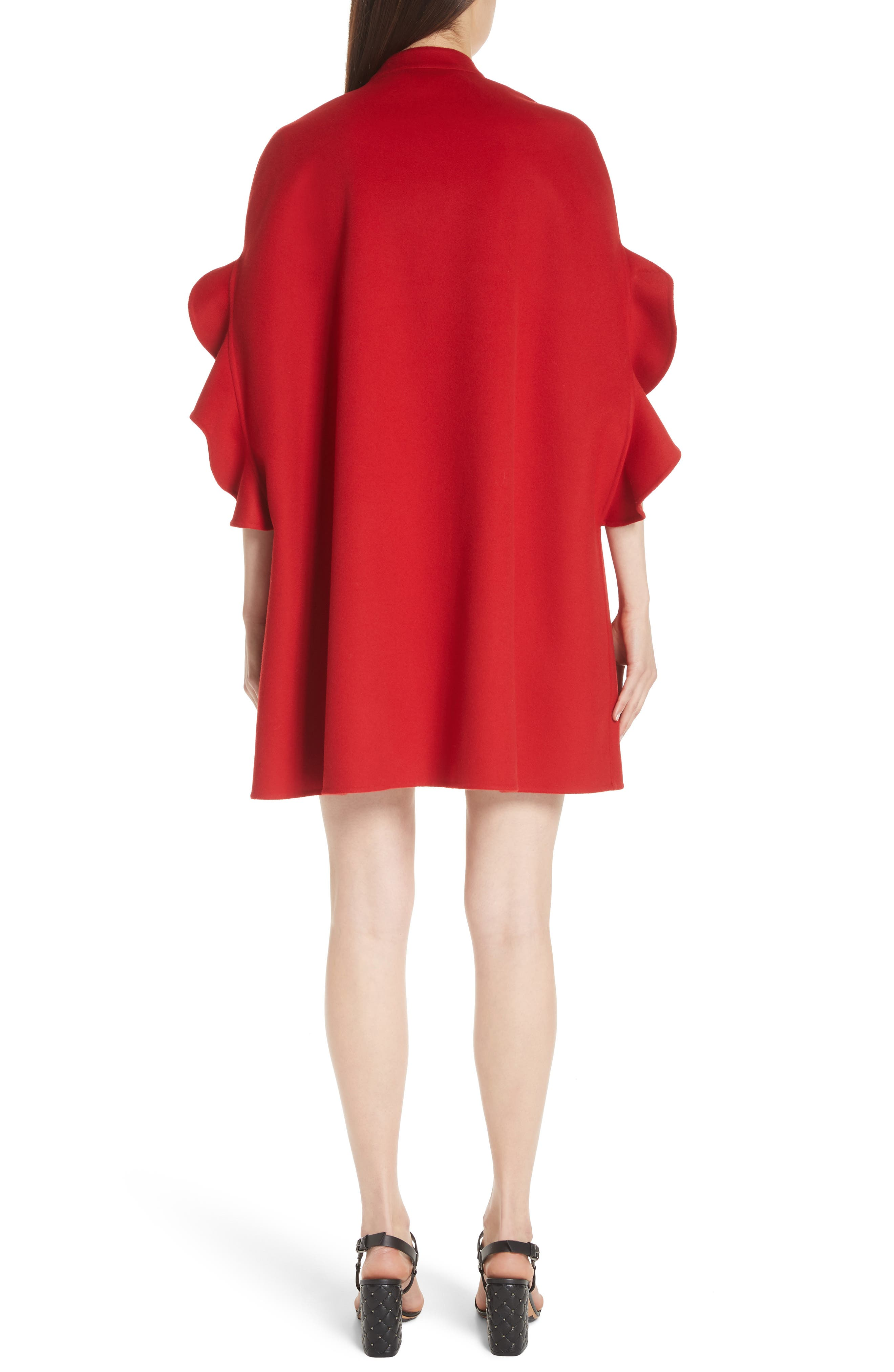 Ruffle Sleeve Compact Wool & Cashmere Cape,                             Alternate thumbnail 2, color,                             RED