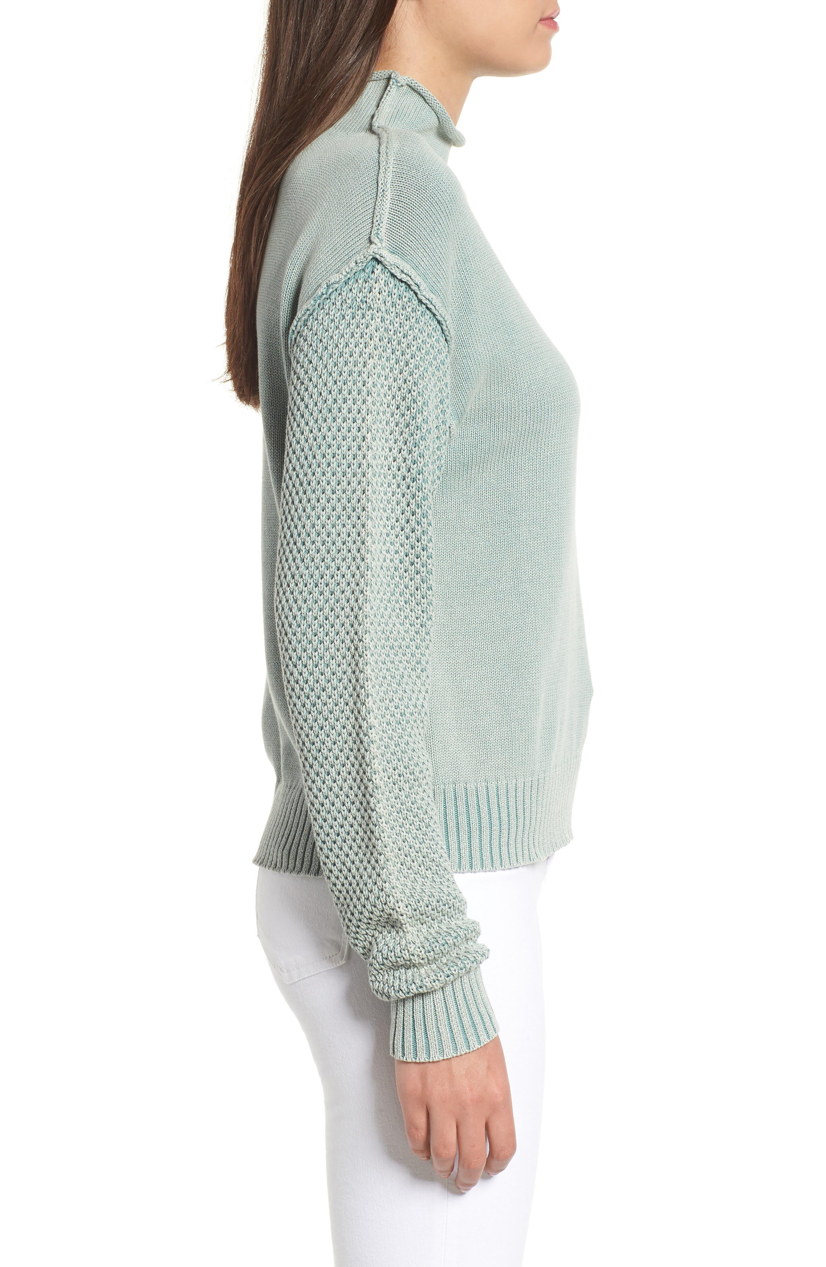 Exposed Seam Sweater,                             Alternate thumbnail 3, color,                             SEA WASH