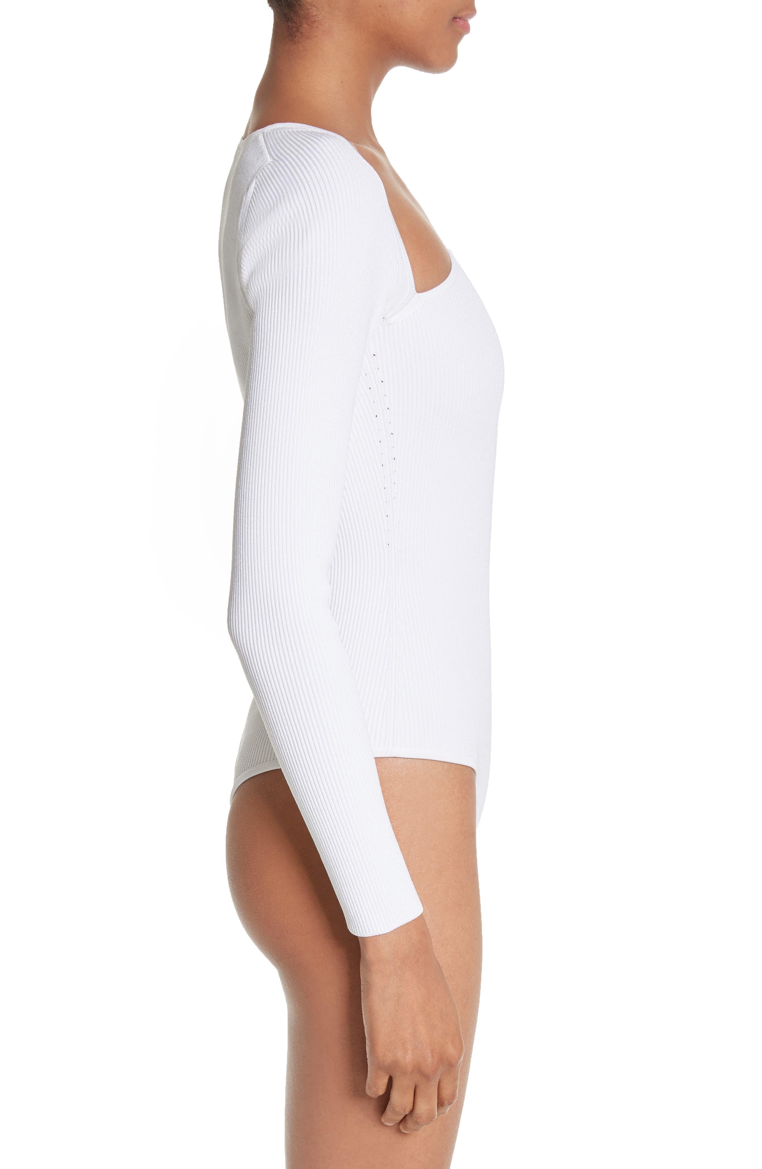 Vivian Asymmetrical Neck Knit Bodysuit,                             Alternate thumbnail 3, color,                             101