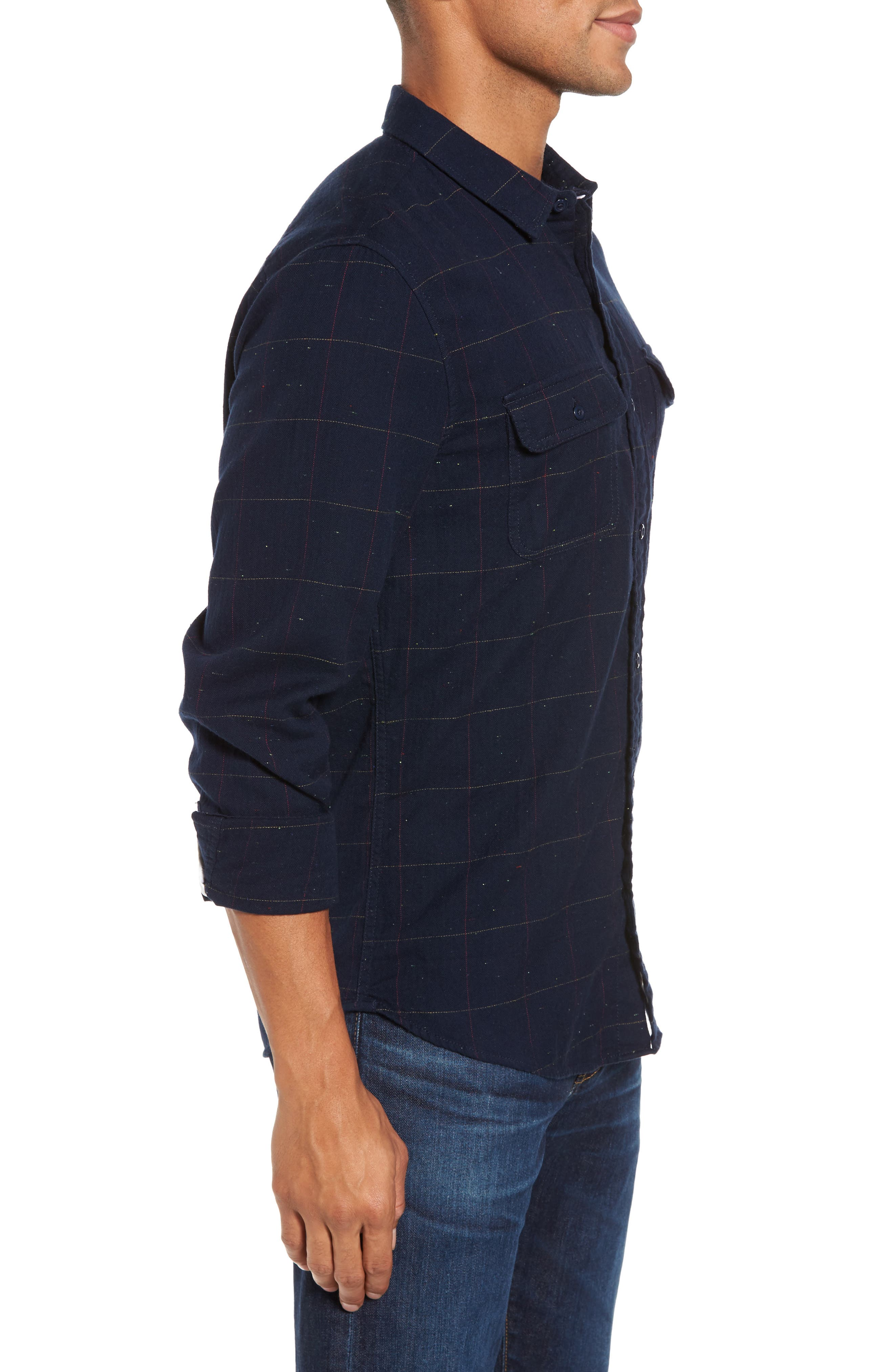 Herringbone Plaid Flannel Shirt,                             Alternate thumbnail 3, color,                             411