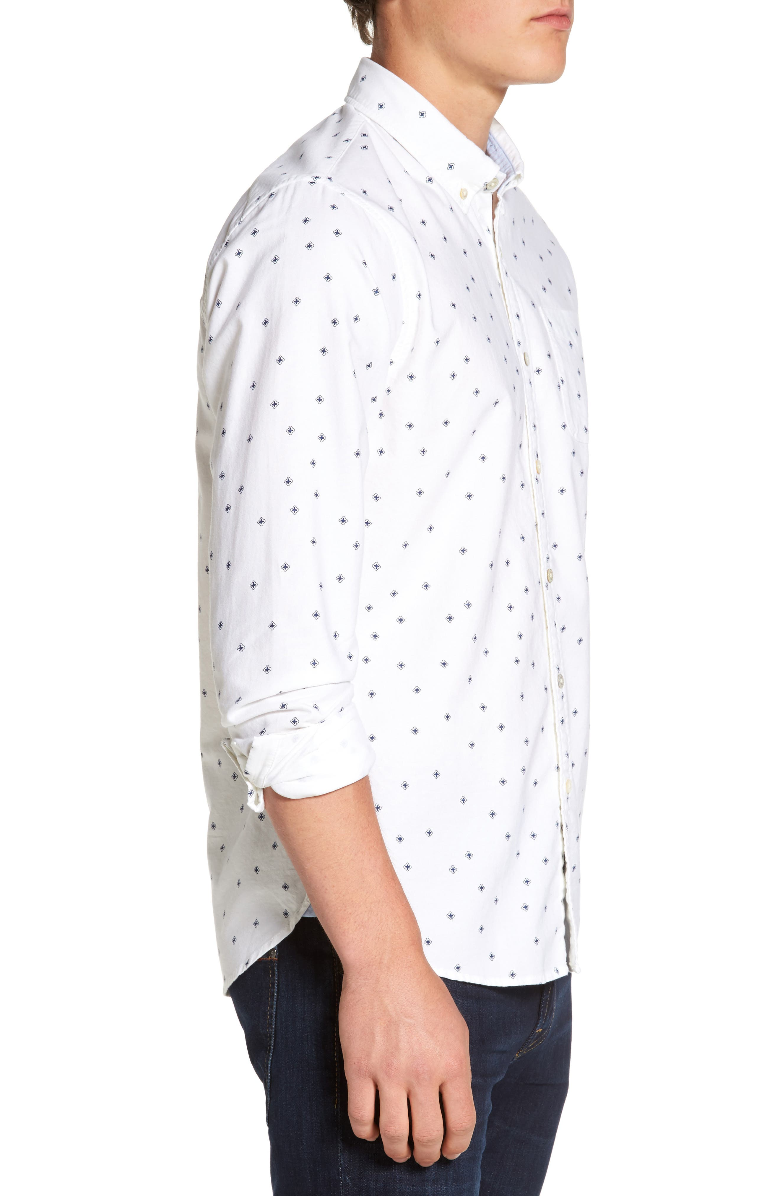 Slim Fit Allover Print Shirt,                             Alternate thumbnail 3, color,                             110