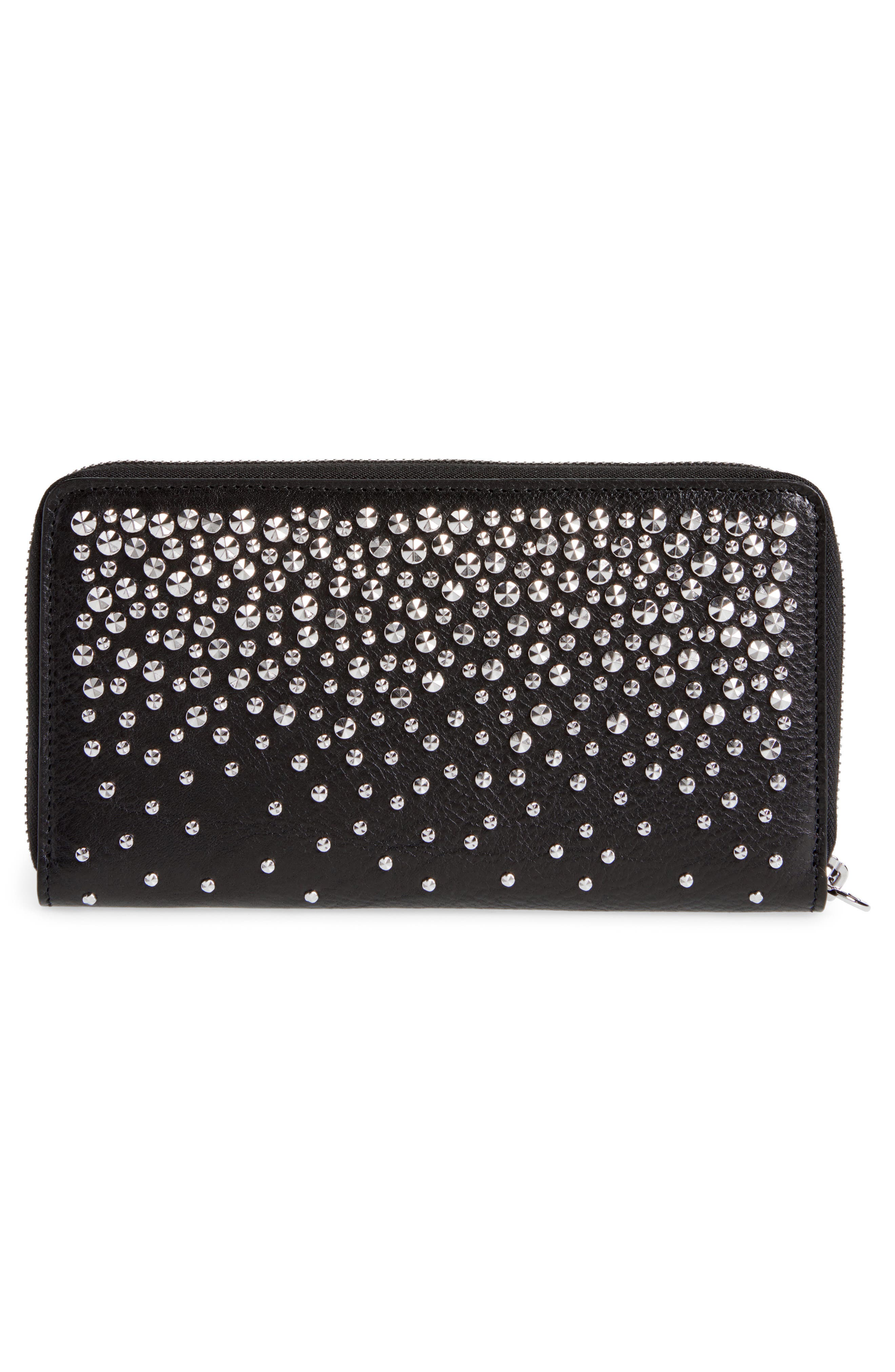 Studded Continental Wallet,                             Alternate thumbnail 3, color,                             BLACK