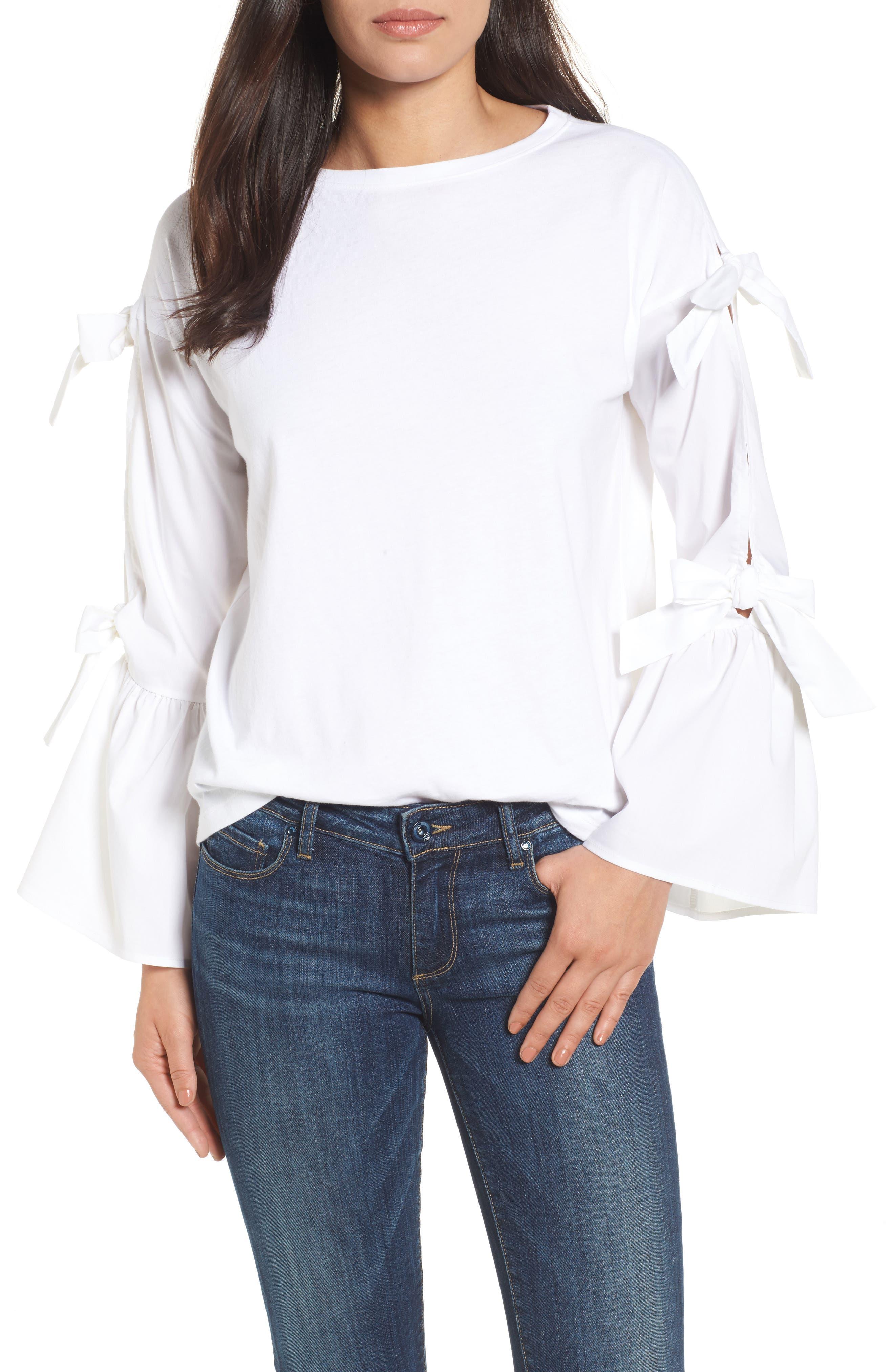 Bow Sleeve Poplin Cotton Top,                         Main,                         color, 100