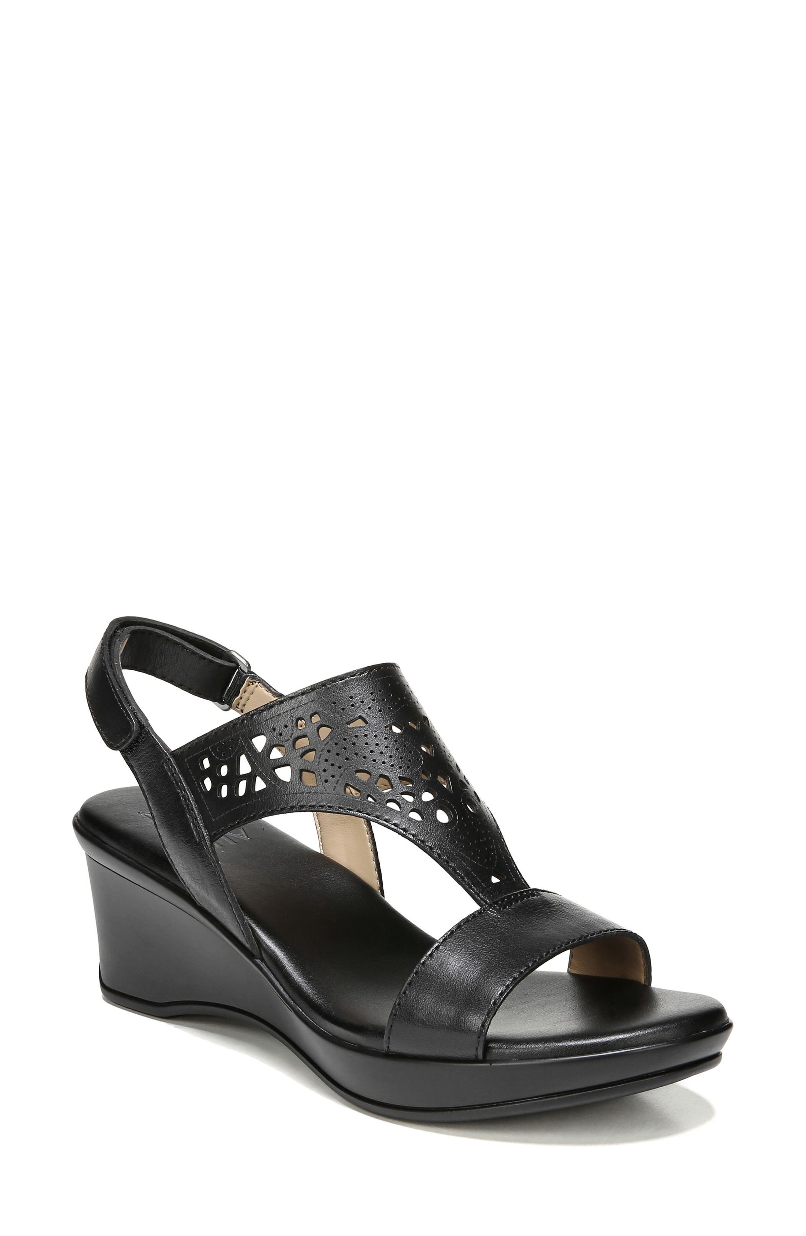 Veda Wedge Sandal,                             Main thumbnail 1, color,                             BLACK LEATHER