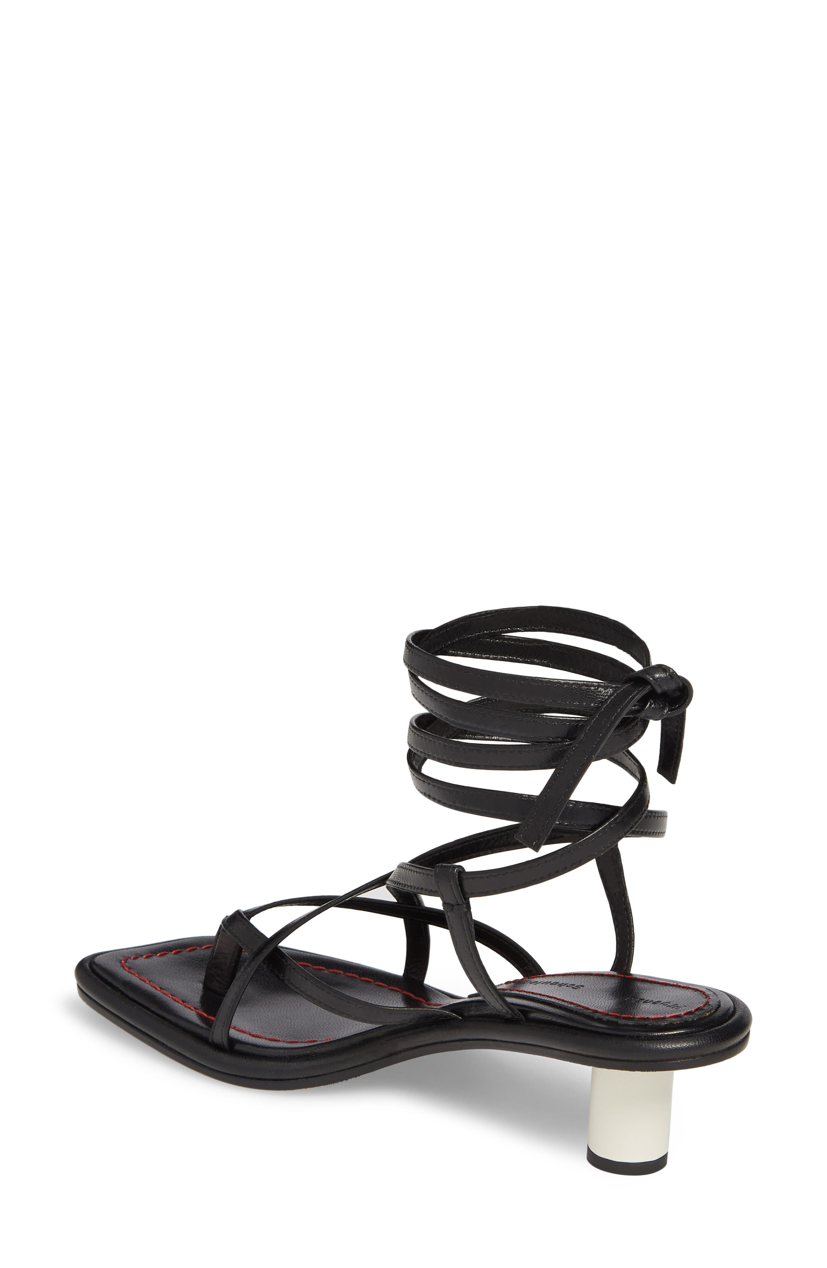 Wraparound Ankle Strap Sandal,                             Alternate thumbnail 2, color,                             BLACK