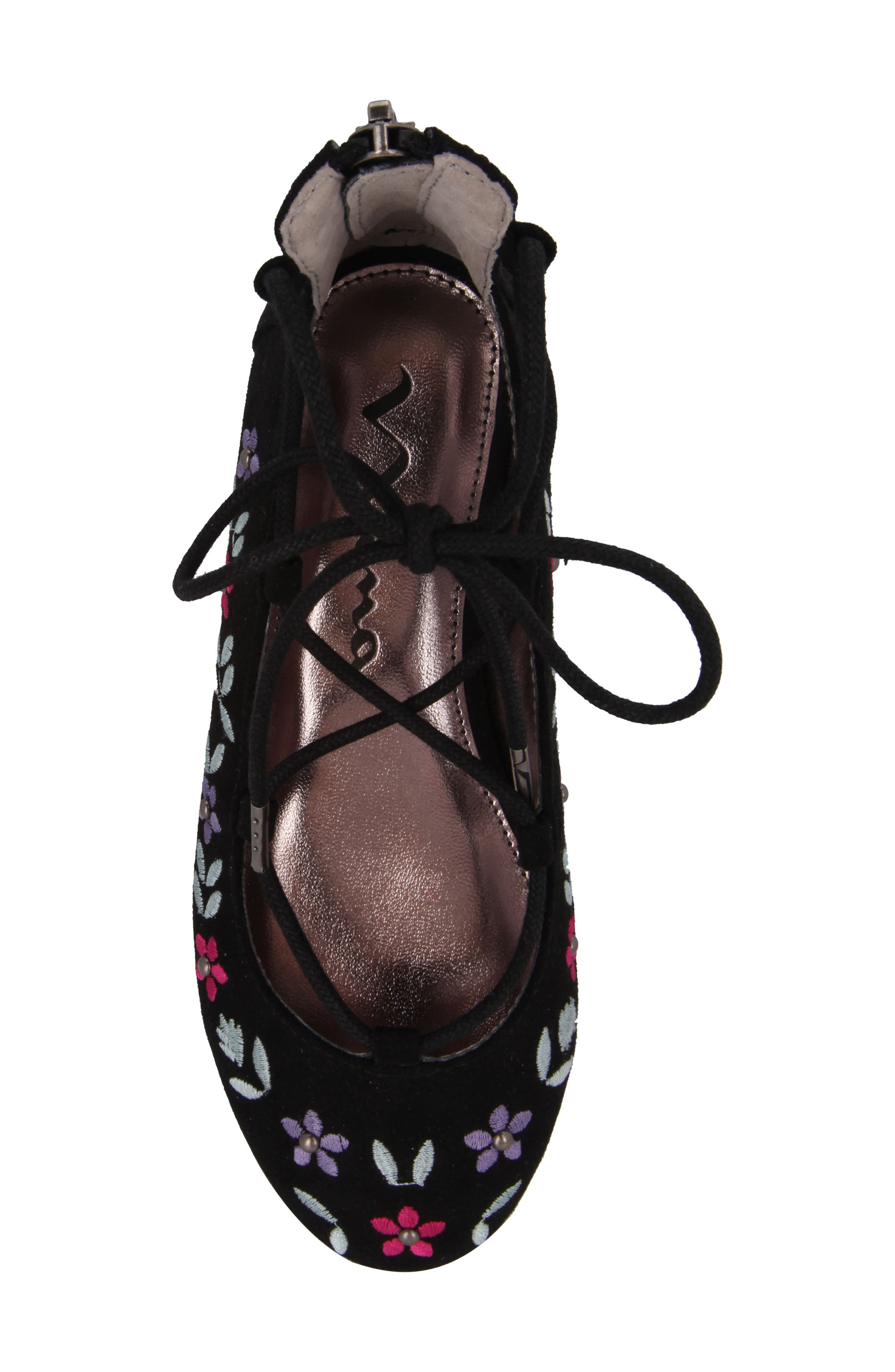 Nelly Embroidered Ghillie Flat,                             Alternate thumbnail 5, color,                             003