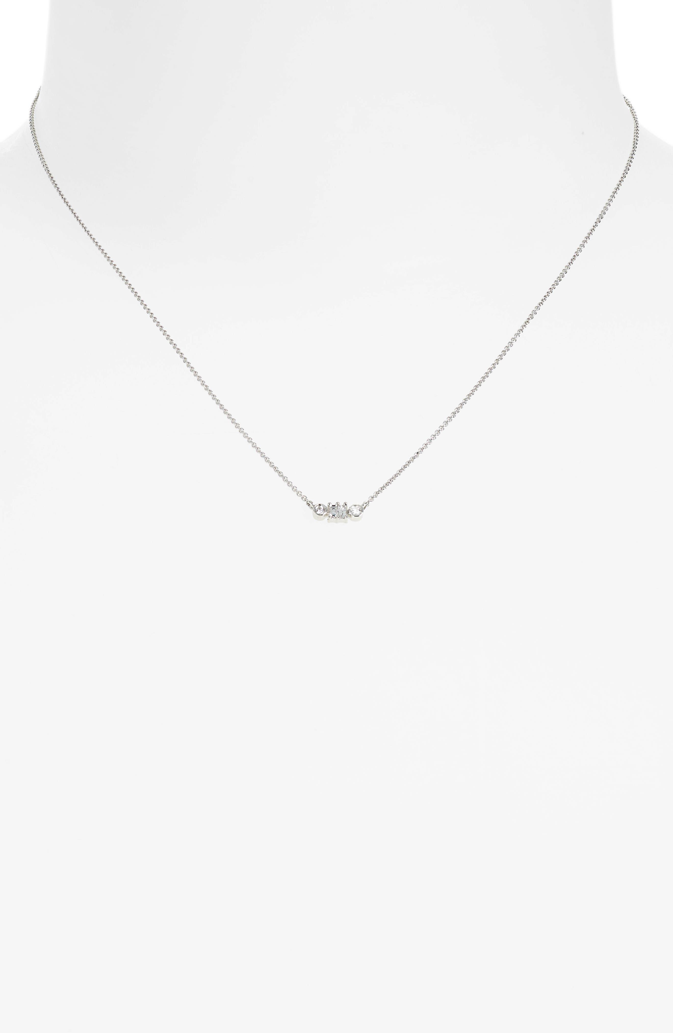 Dana Rebecca Sadie Diamond Baguette Pendant Necklace,                             Alternate thumbnail 2, color,                             WHITE GOLD