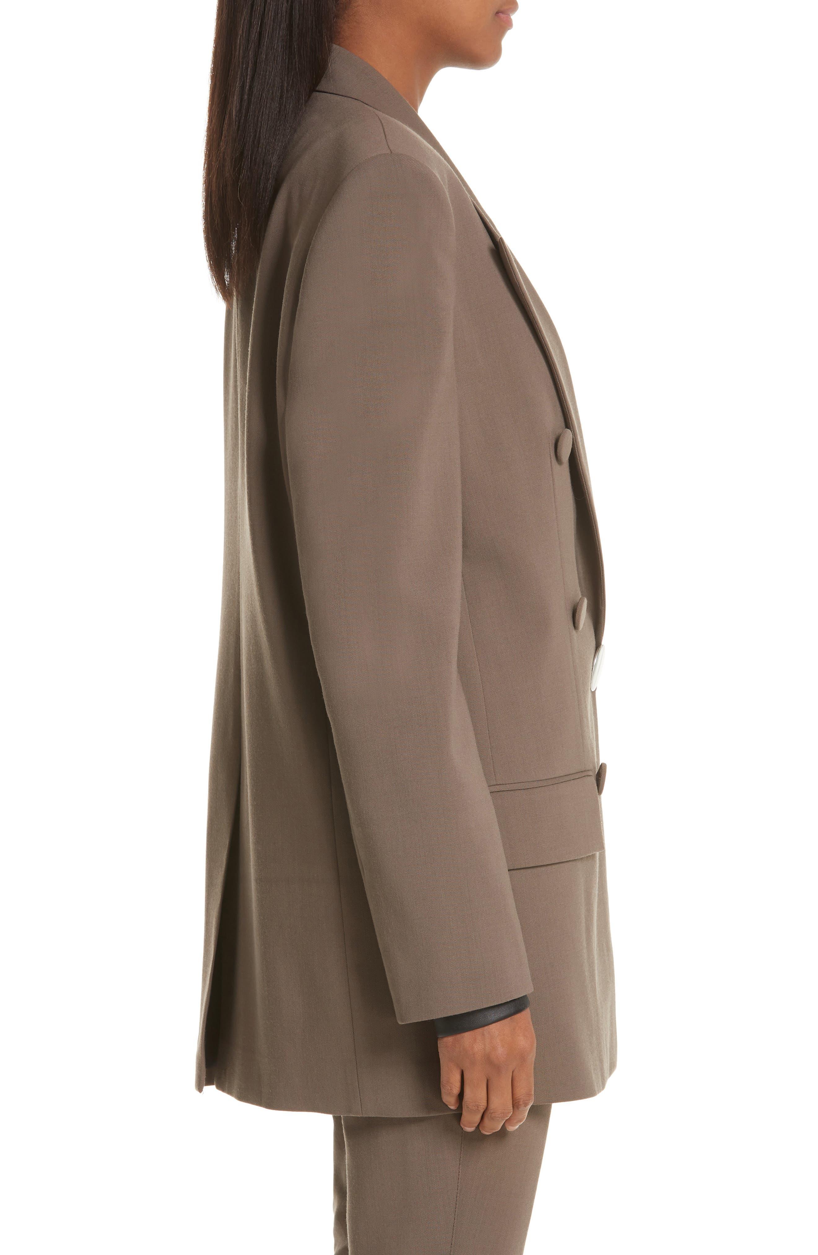 ALEXANDER WANG,                             Leather Cuff Blazer,                             Alternate thumbnail 4, color,                             KHAKI GREEN