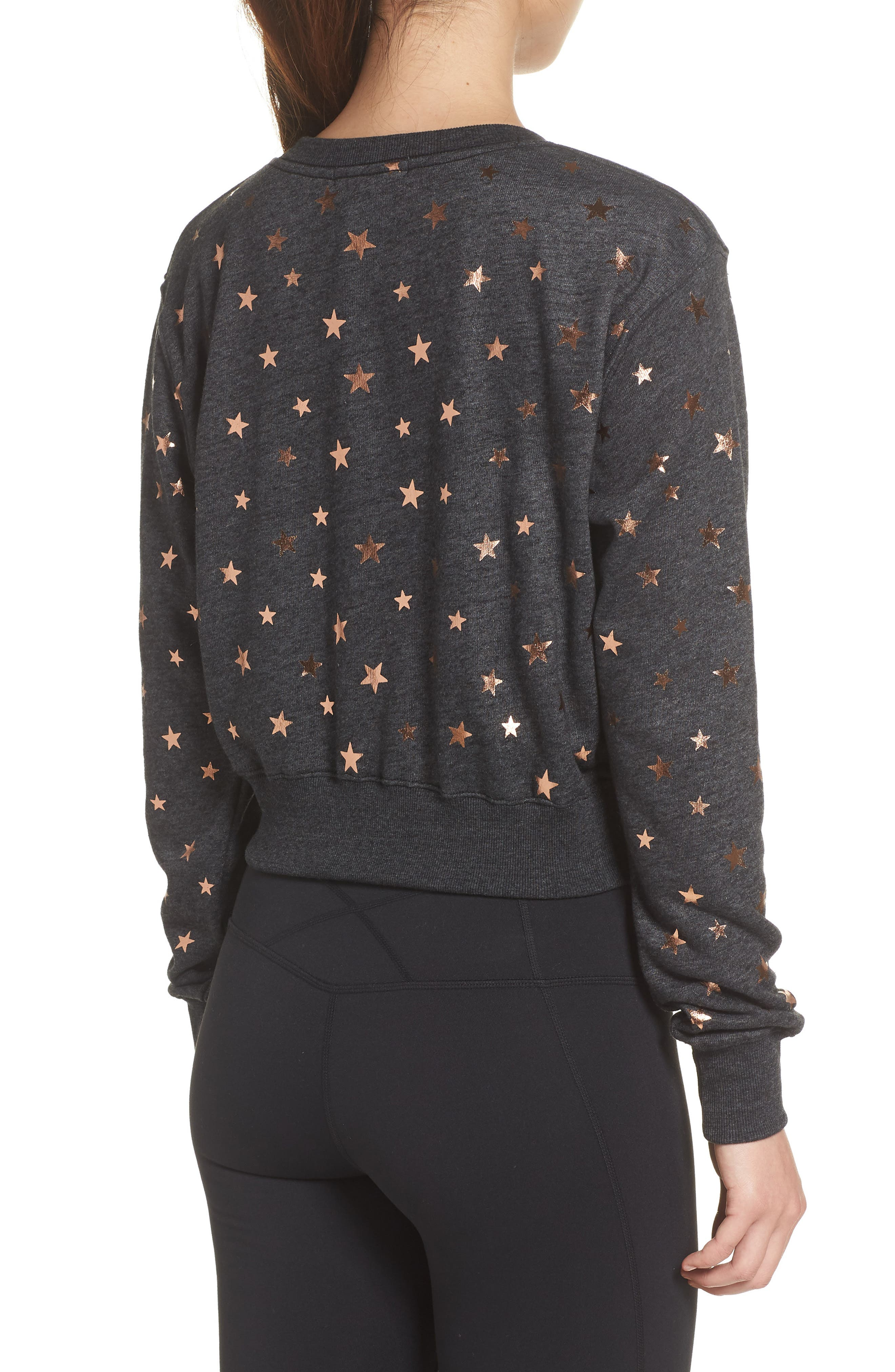 Stars Crop Pullover,                             Alternate thumbnail 2, color,                             STARRY VIBES - BLACK