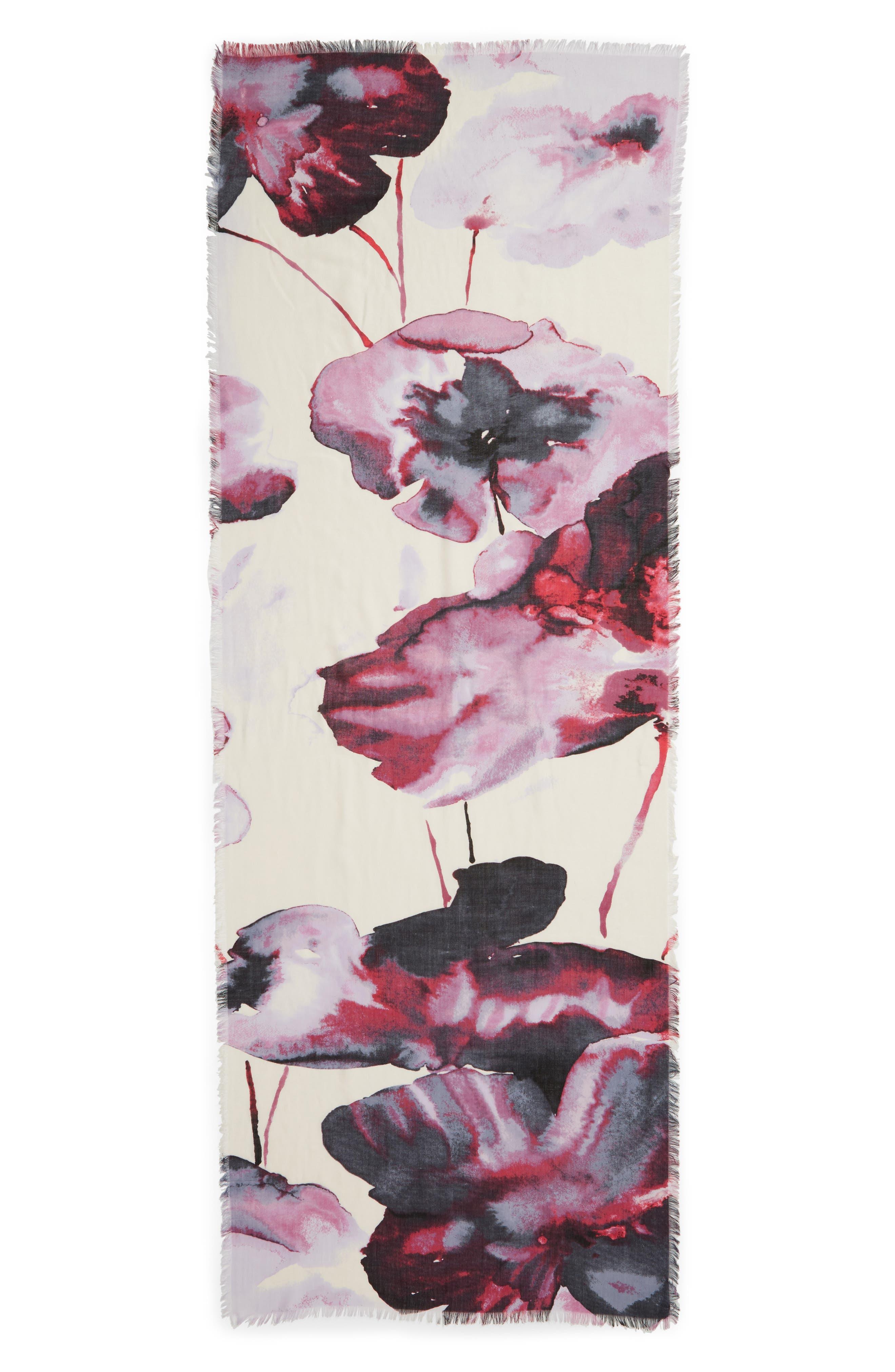 Eyelash Trim Print Cashmere & Silk Wrap,                             Alternate thumbnail 51, color,