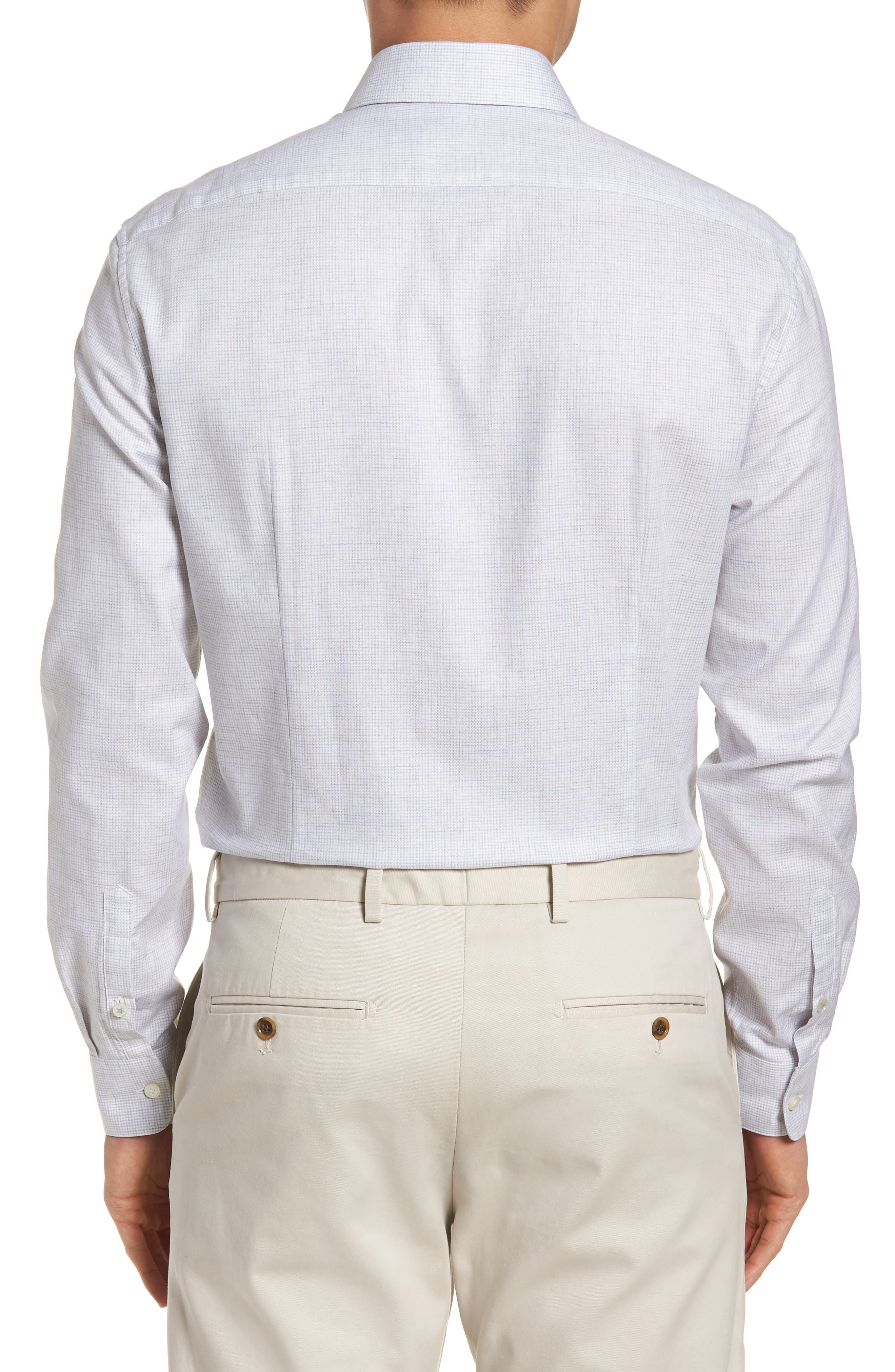 Slim Fit Microcheck Dress Shirt,                             Alternate thumbnail 3, color,