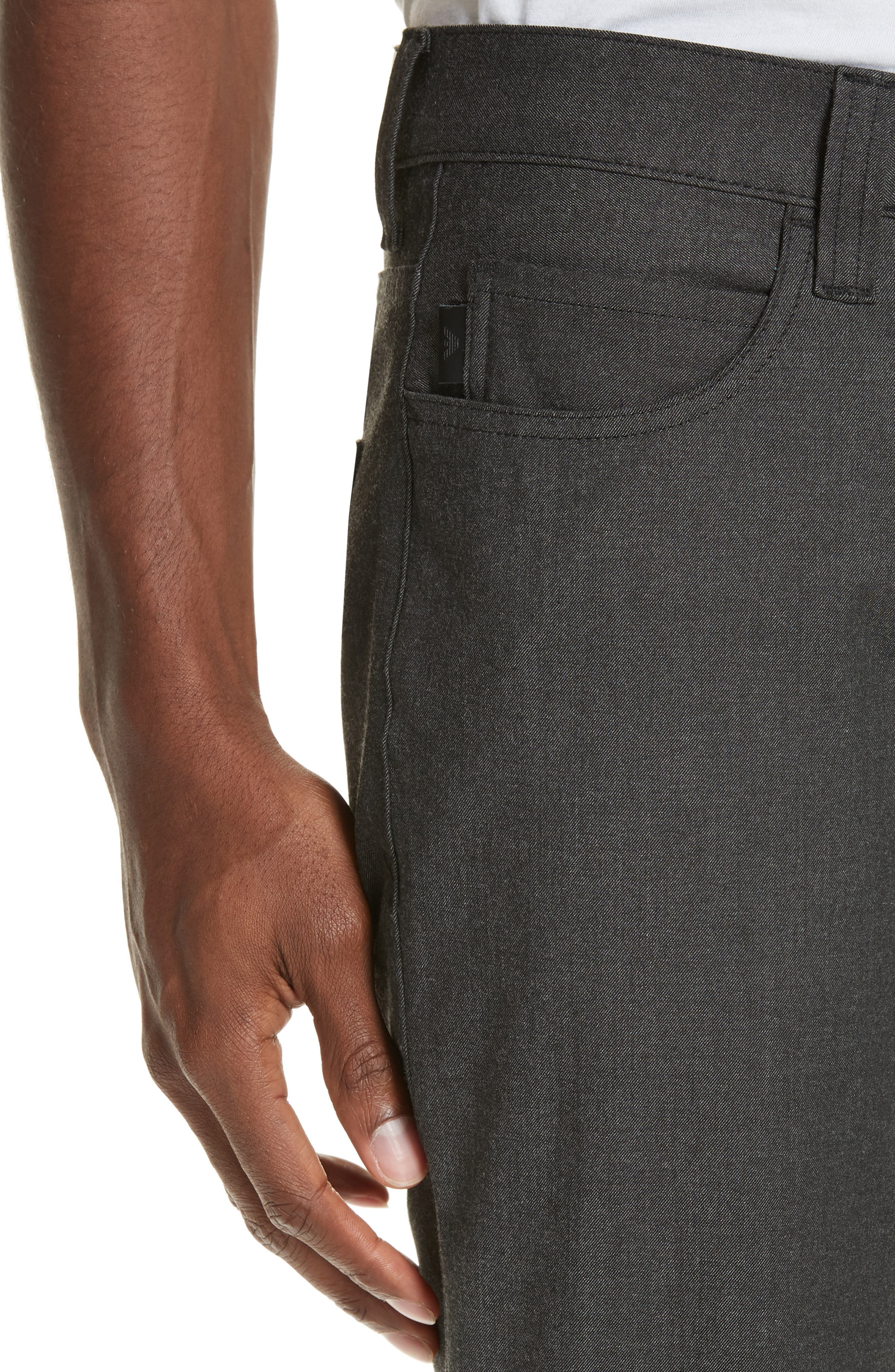 Flat Front Five Pocket Trousers,                             Alternate thumbnail 4, color,                             CHARCOAL