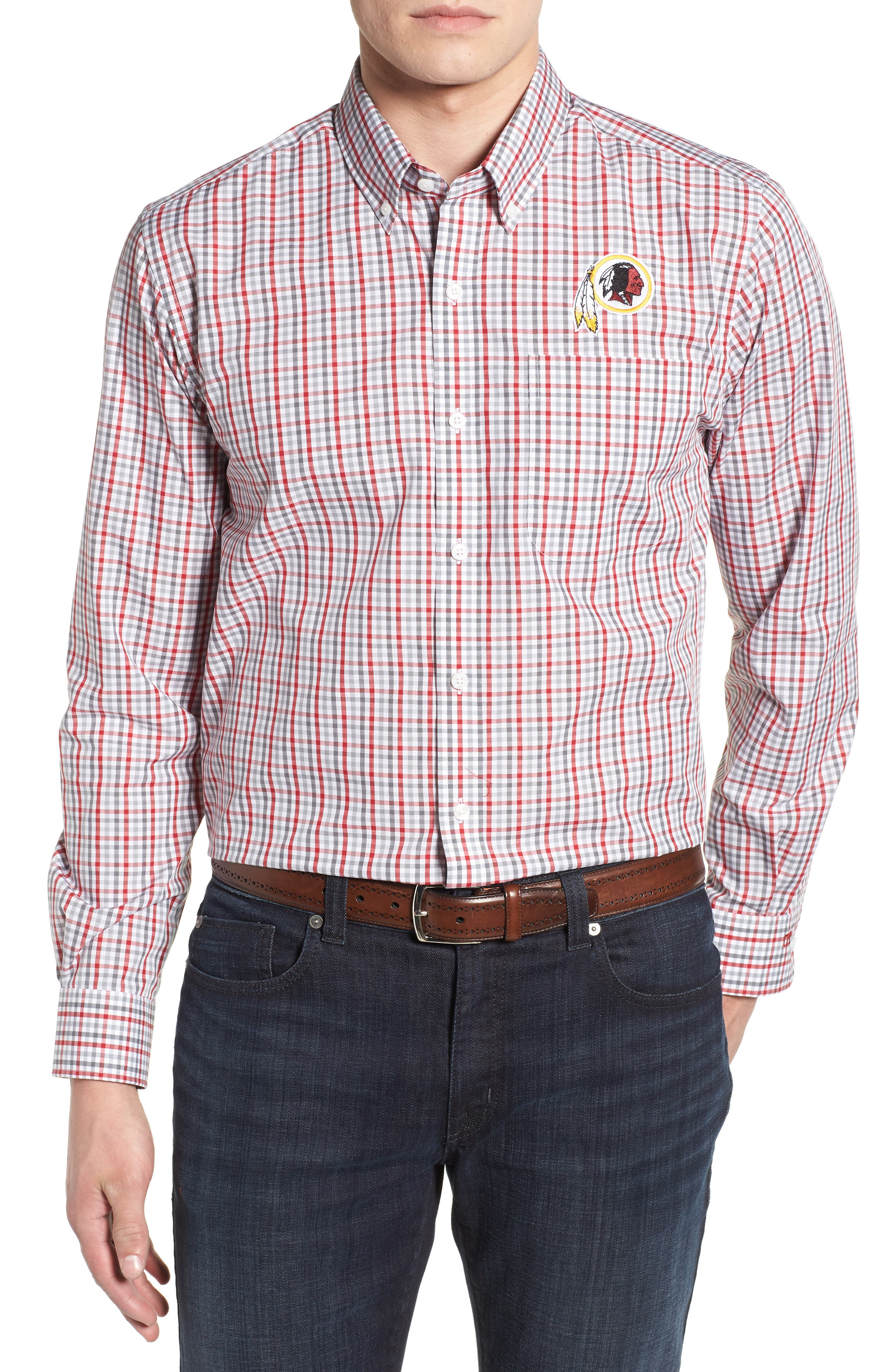Washington - Gilman Regular Fit Plaid Sport Shirt,                             Main thumbnail 1, color,                             CARDINAL RED