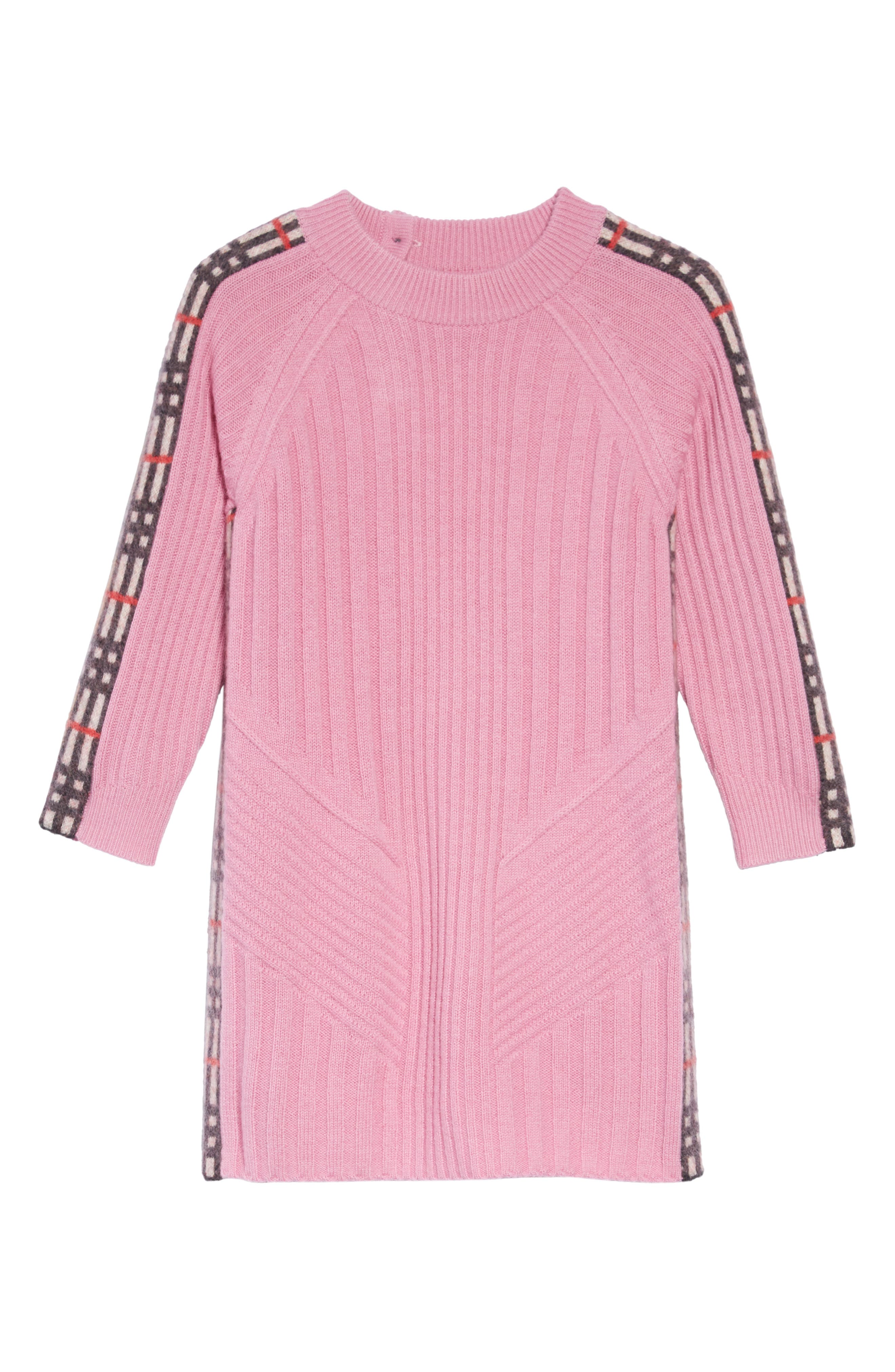 Kids Cathina Check Detail Wool & Cashmere Sweater Dress,                             Main thumbnail 1, color,                             ROSE PINK