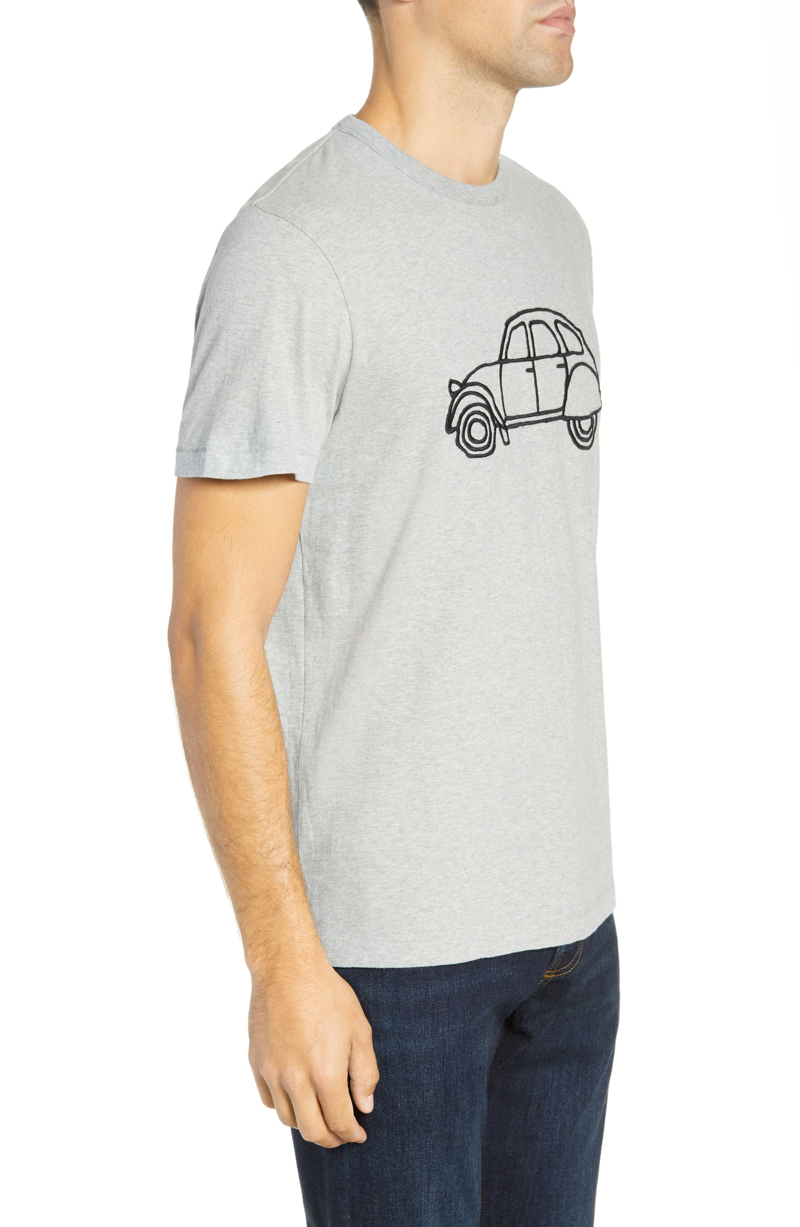 FRENCH CONNECTION,                             Embroidered Car Cotton T-Shirt,                             Alternate thumbnail 3, color,                             020