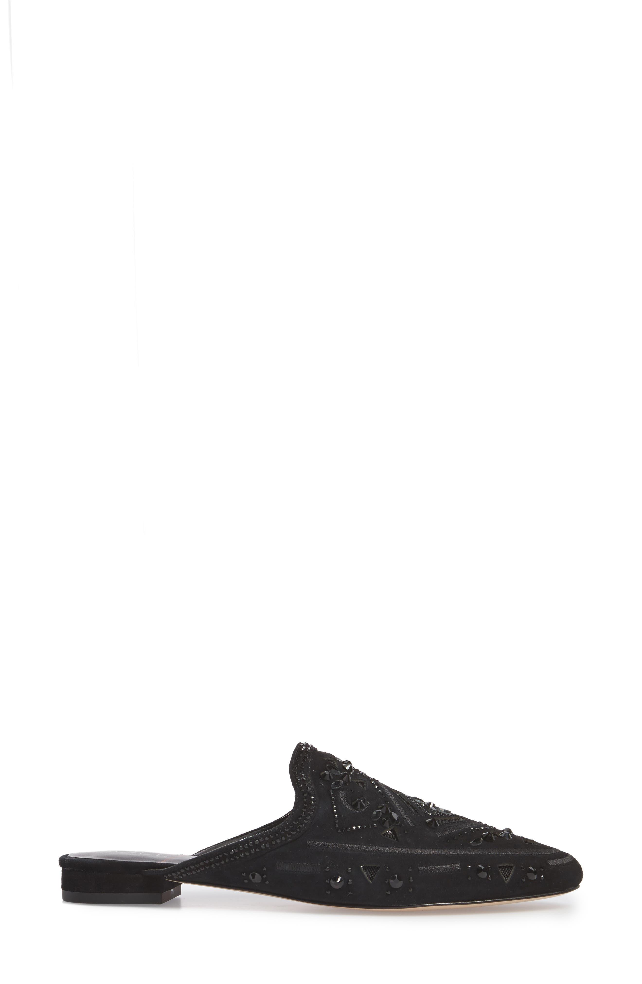 Peace Embellished Loafer Mule,                             Alternate thumbnail 3, color,                             001