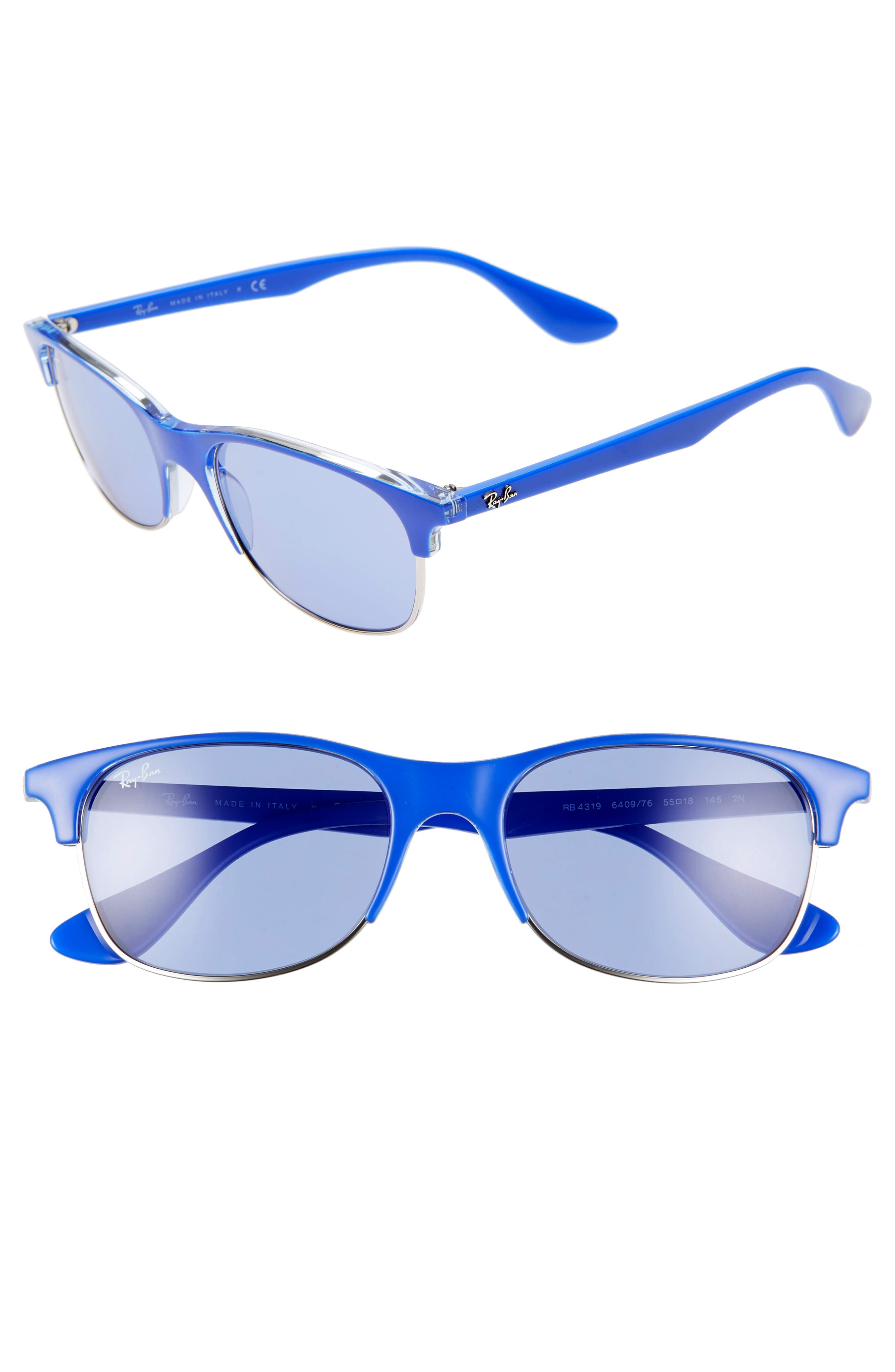 Ray-Ban 55Mm Sunglasses - Blue/ Light Blue Solid