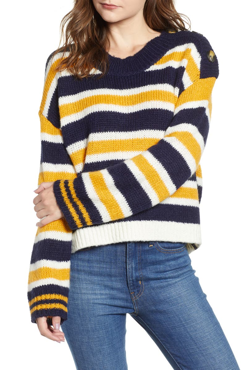 Button Shoulder Stripe Sweater, Main, color, NAVY MARITIME CAITLYN STRIPE